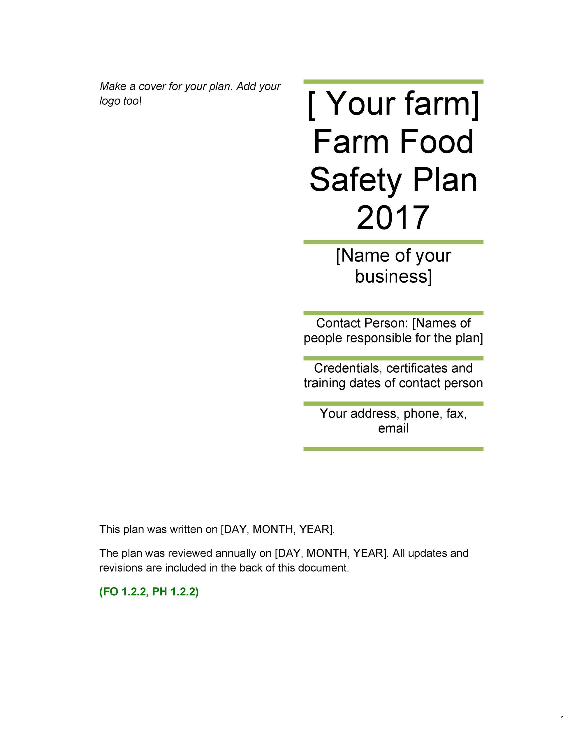 Free safety plan template 34