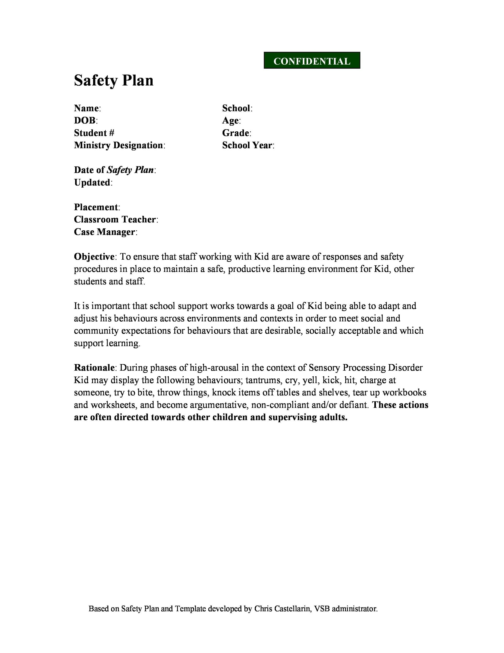 Free safety plan template 37