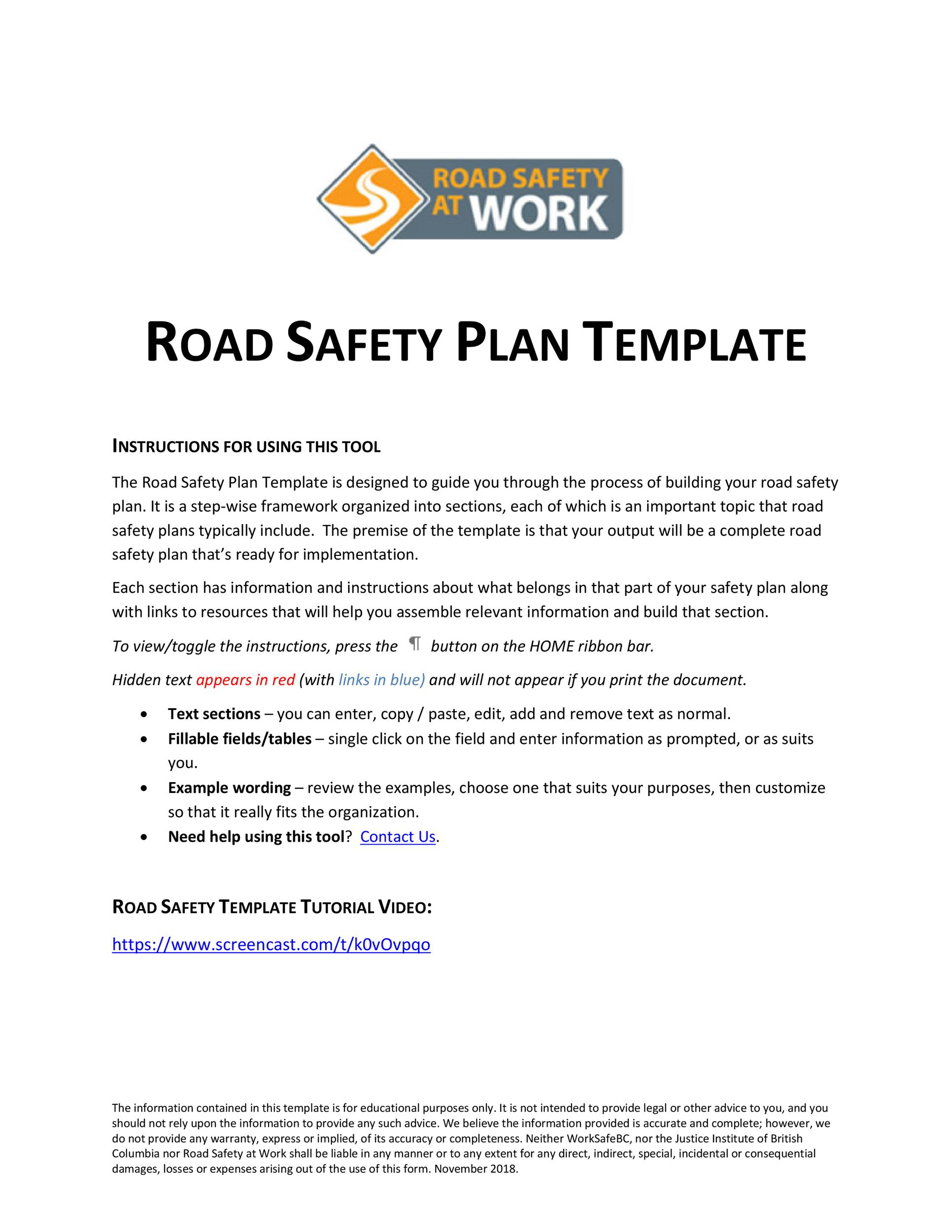 Free safety plan template 43