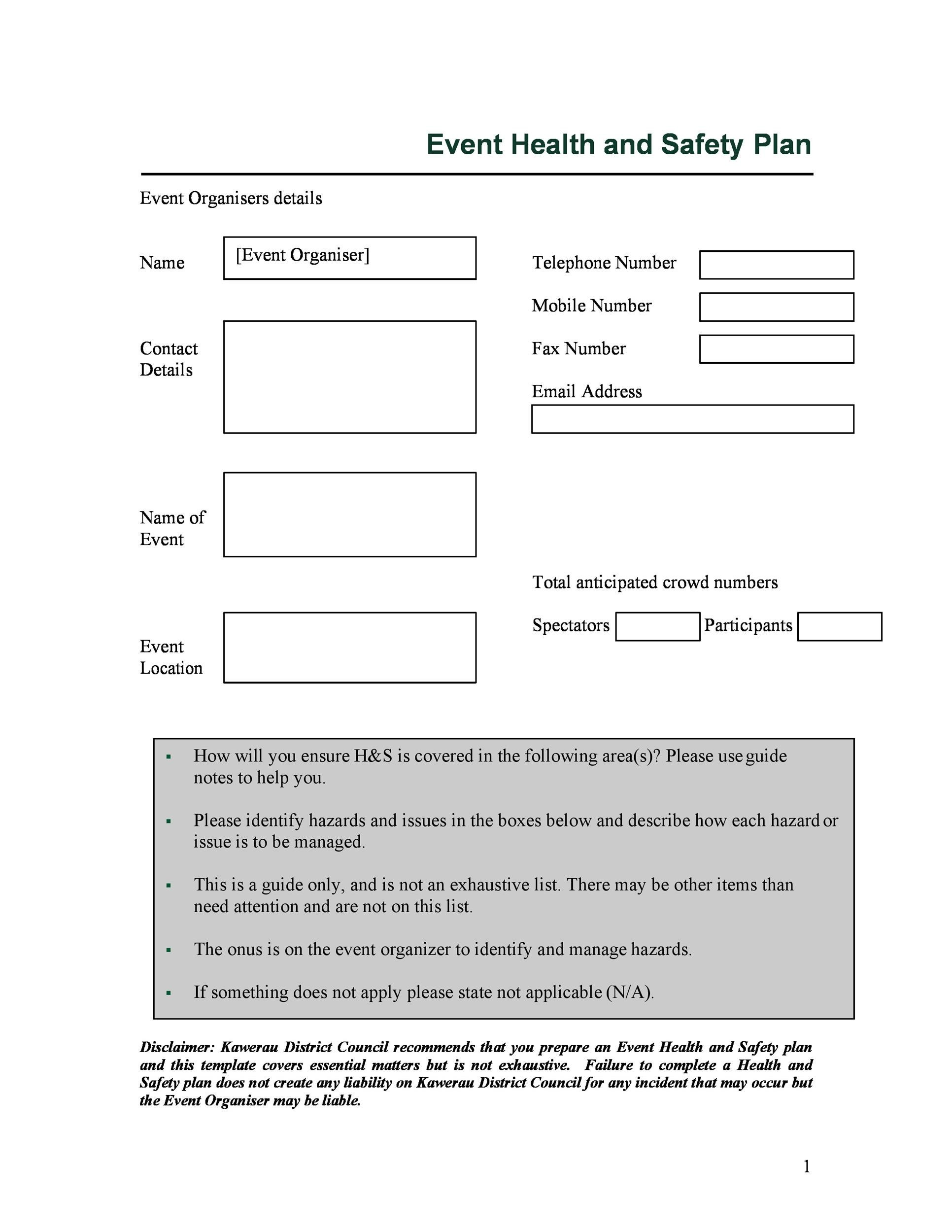 Free safety plan template 44