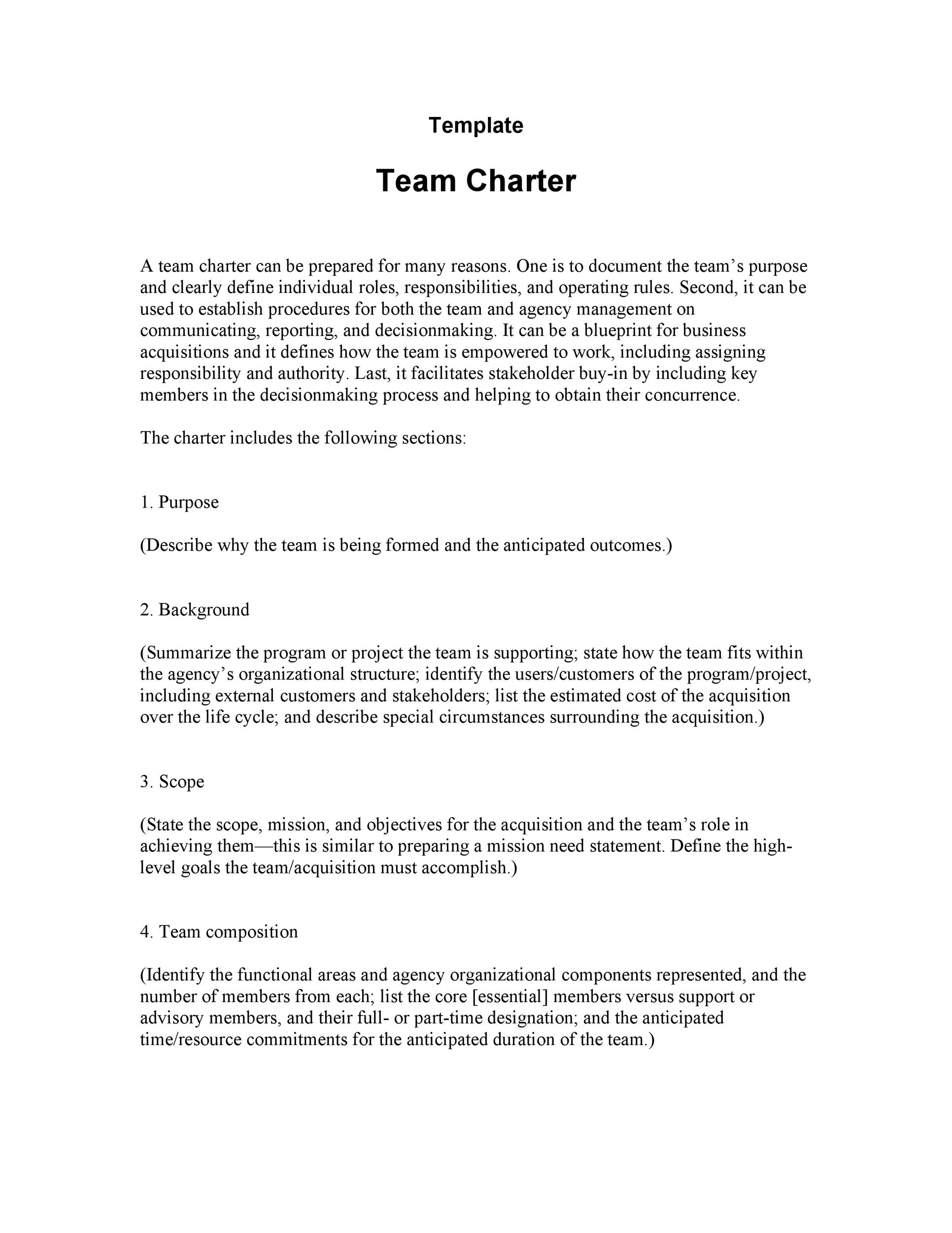 Free team charter template 01