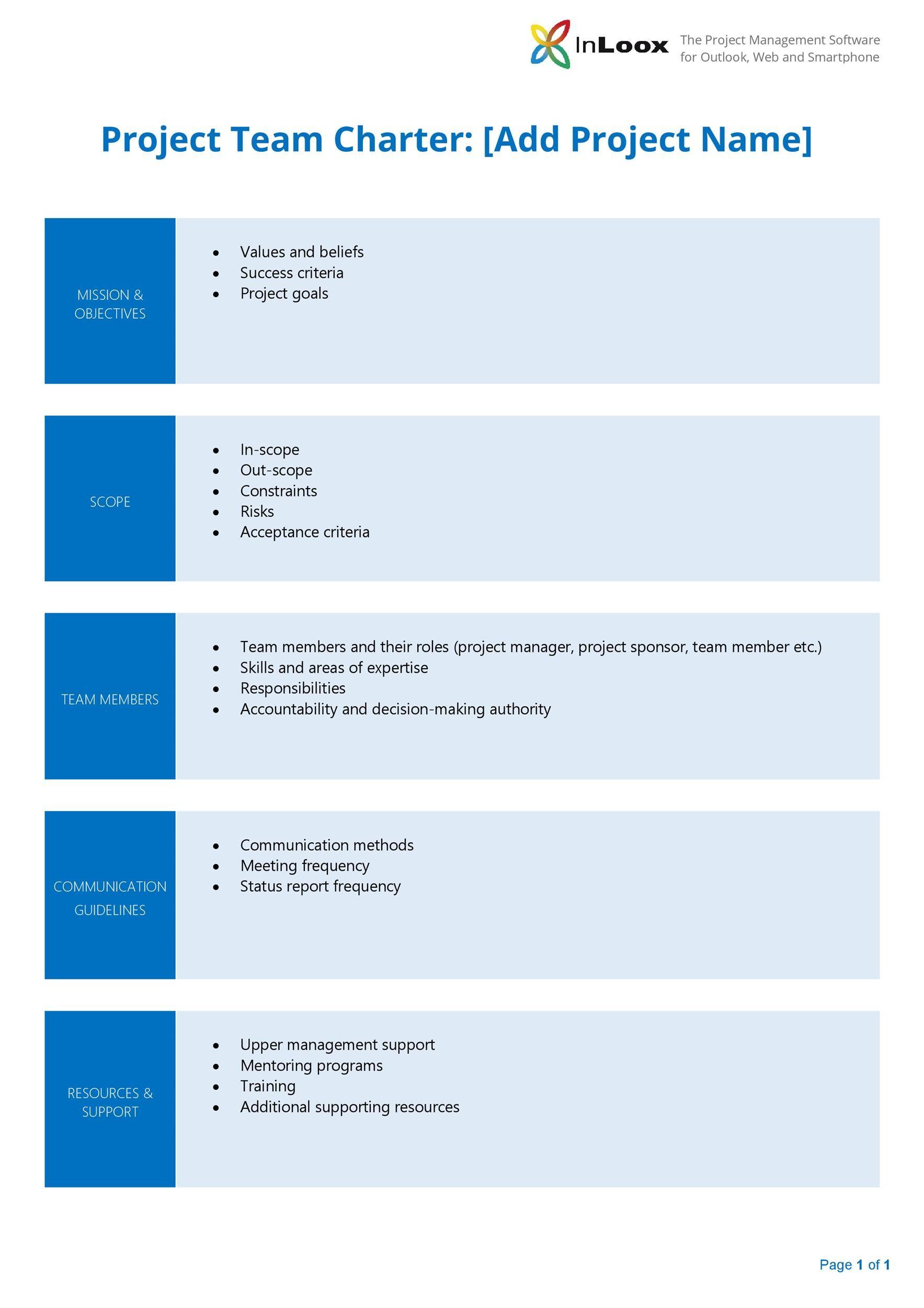 Free team charter template 03