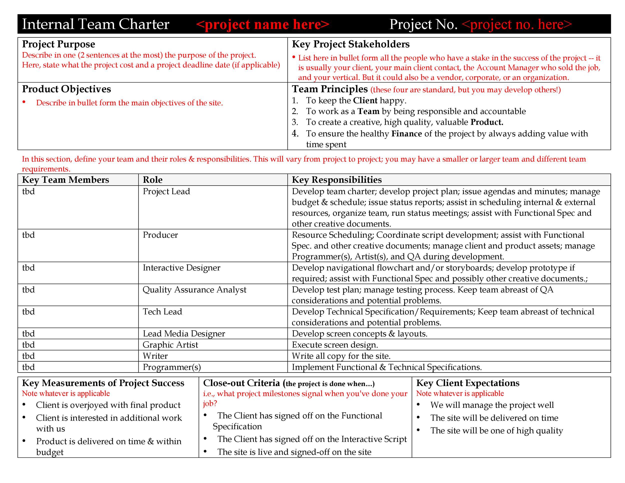 Free team charter template 06