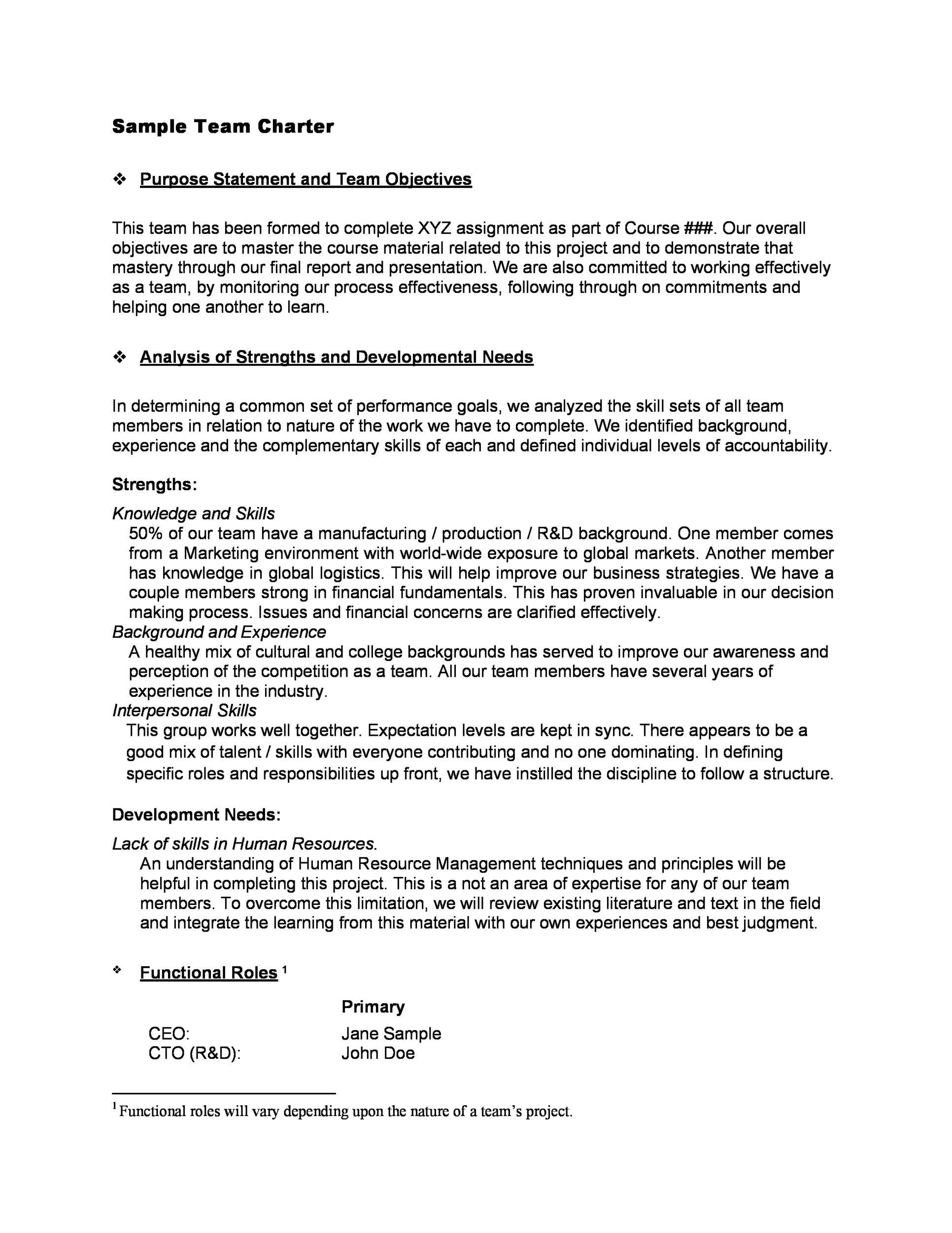 Free team charter template 10