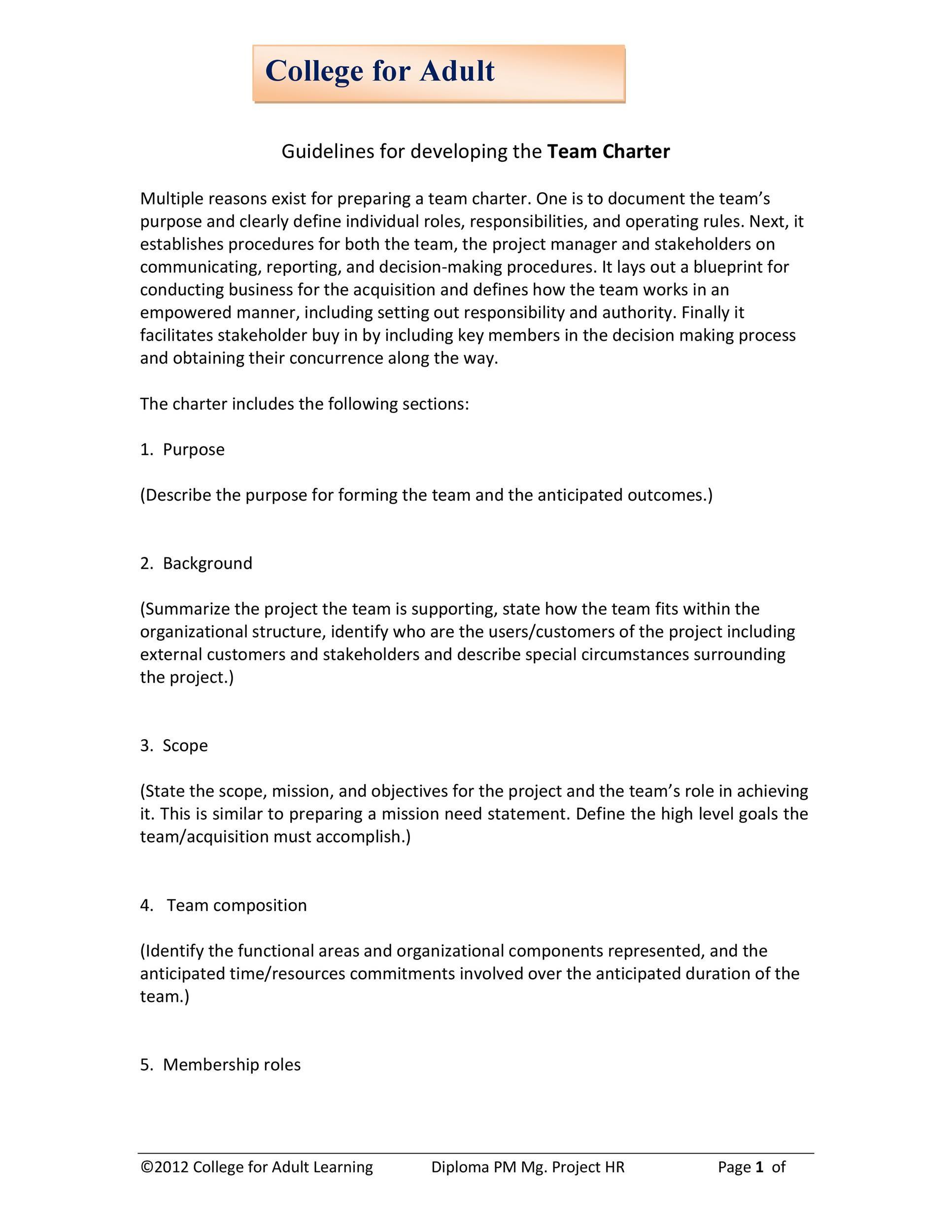 Free team charter template 13