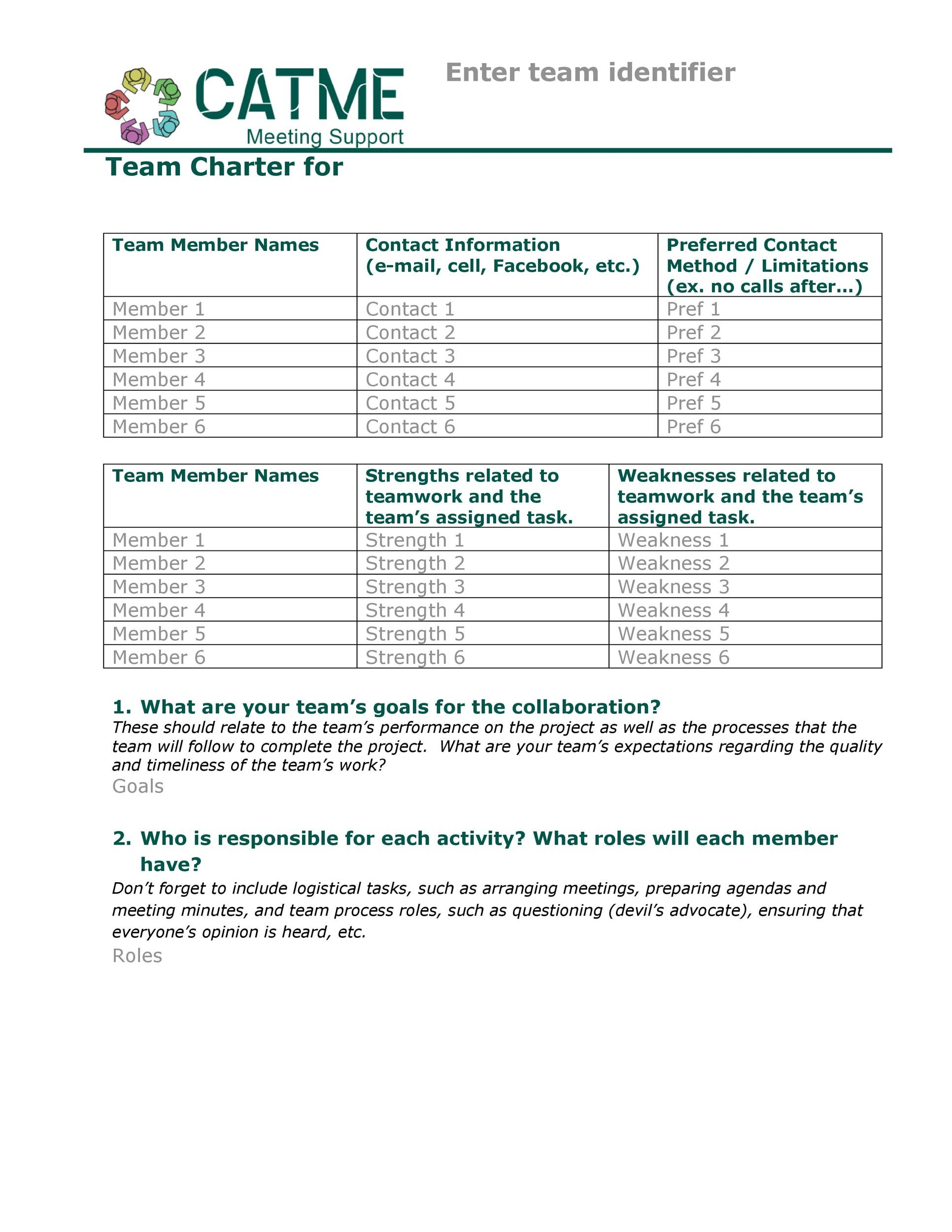Free team charter template 21