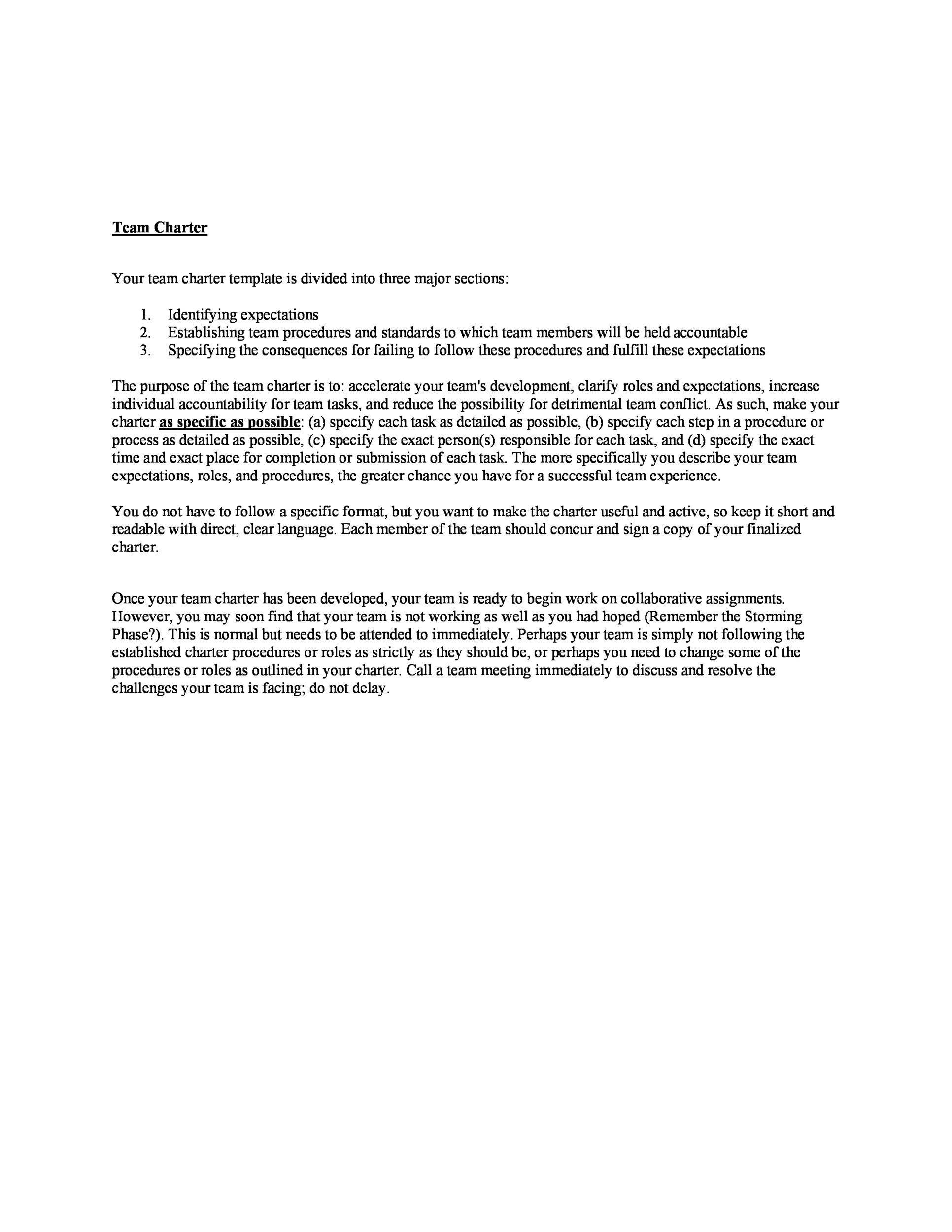 Free team charter template 27
