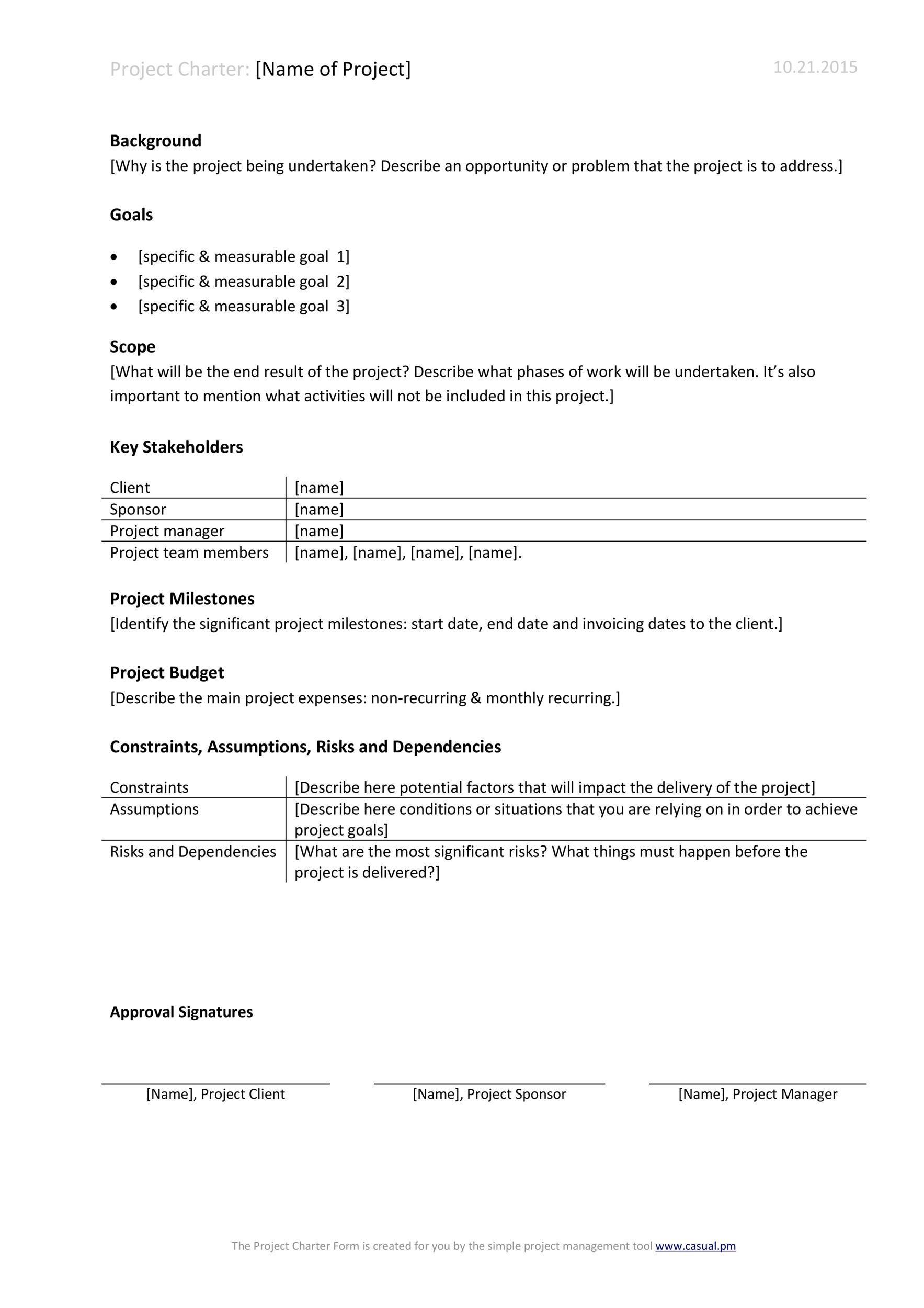 Free team charter template 43