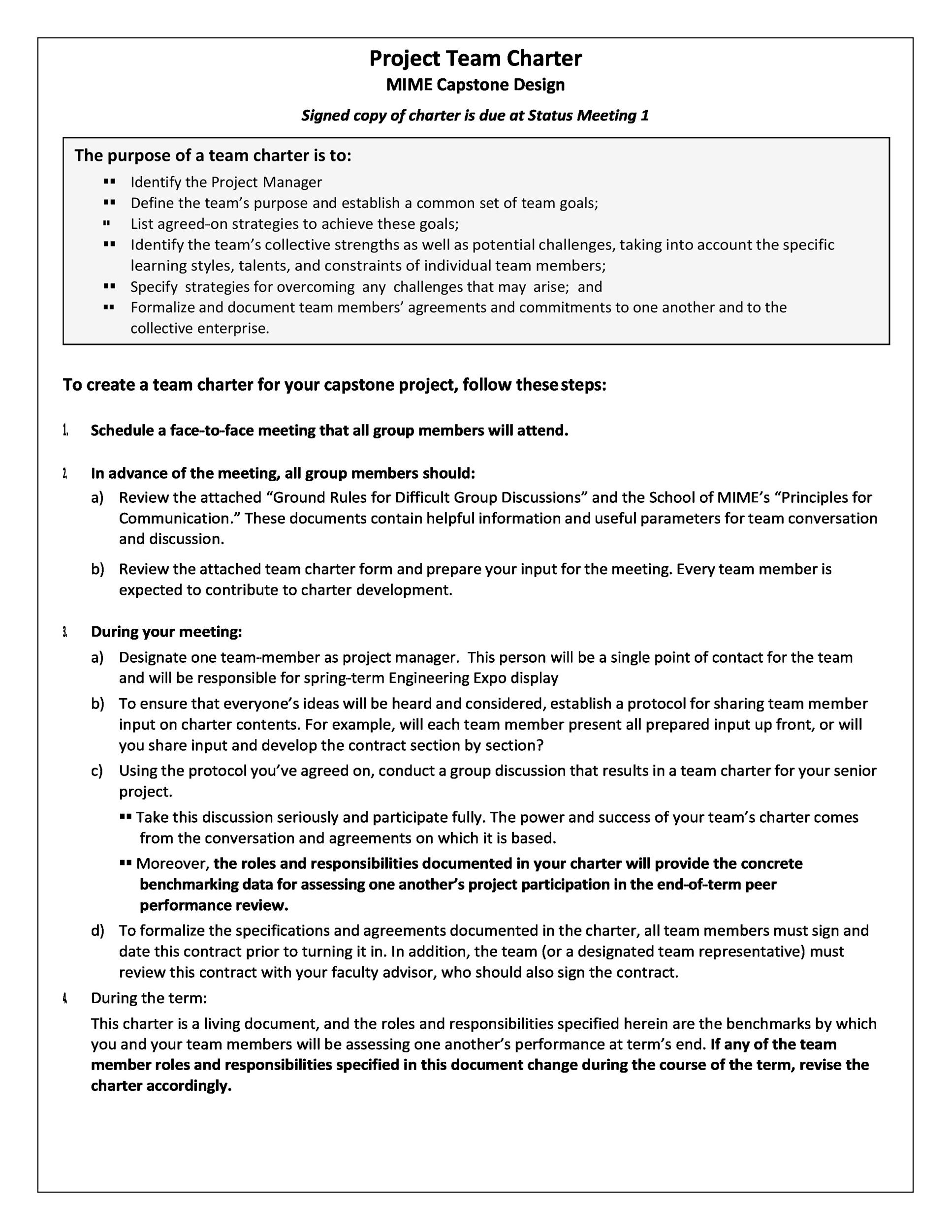 Free team charter template 44