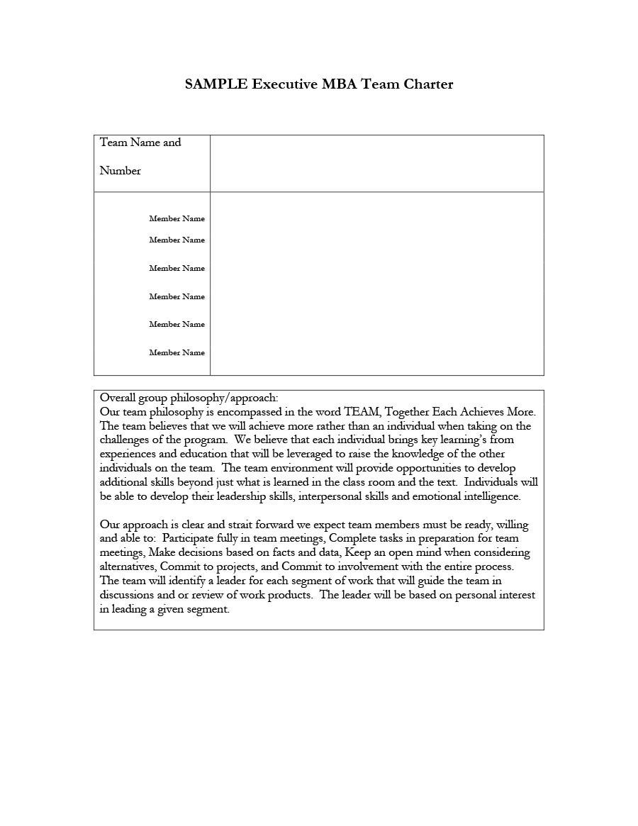 Free team charter template 46