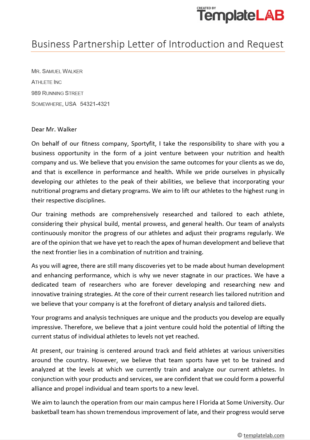Free Business Partnership Letter of Introduction 1