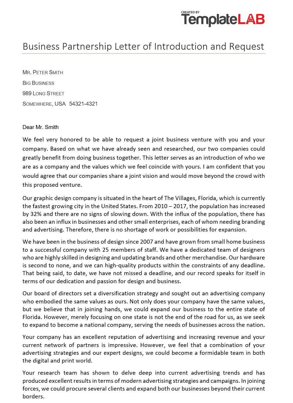Free Business Partnership Letter of Introduction 2