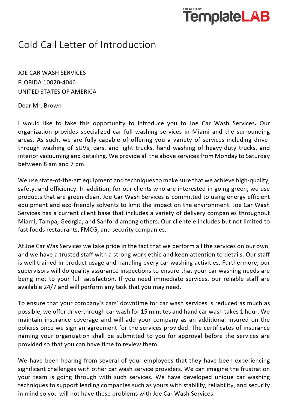 Free Cold Call Letter of Introduction 2
