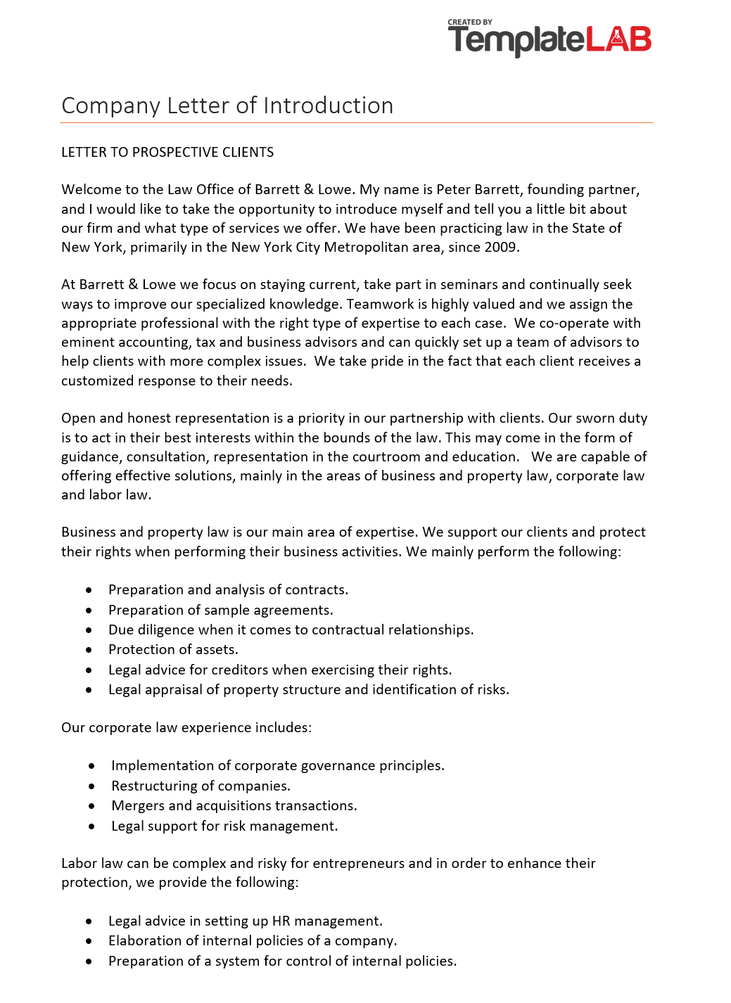 Free Company Letter of Introduction 2