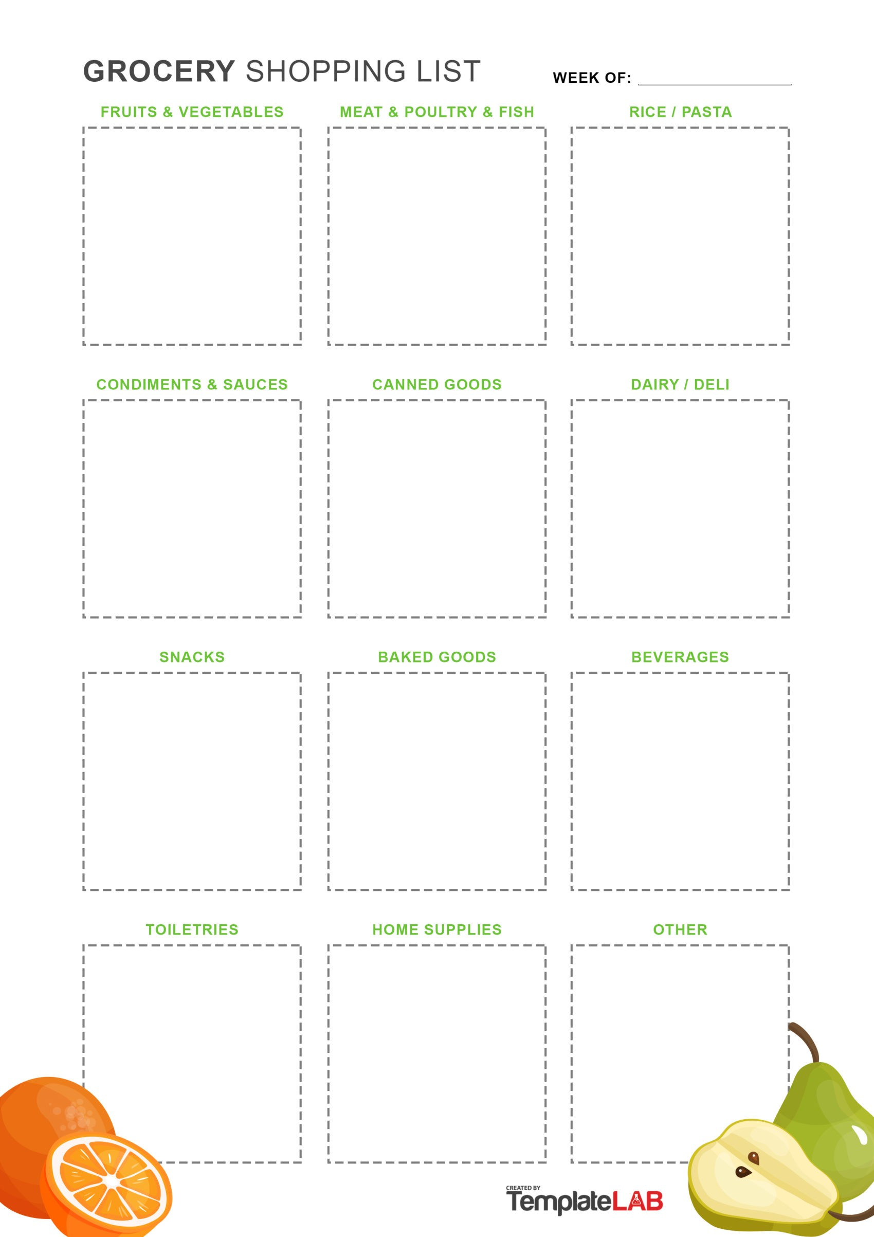 Free Grocery List Template 13