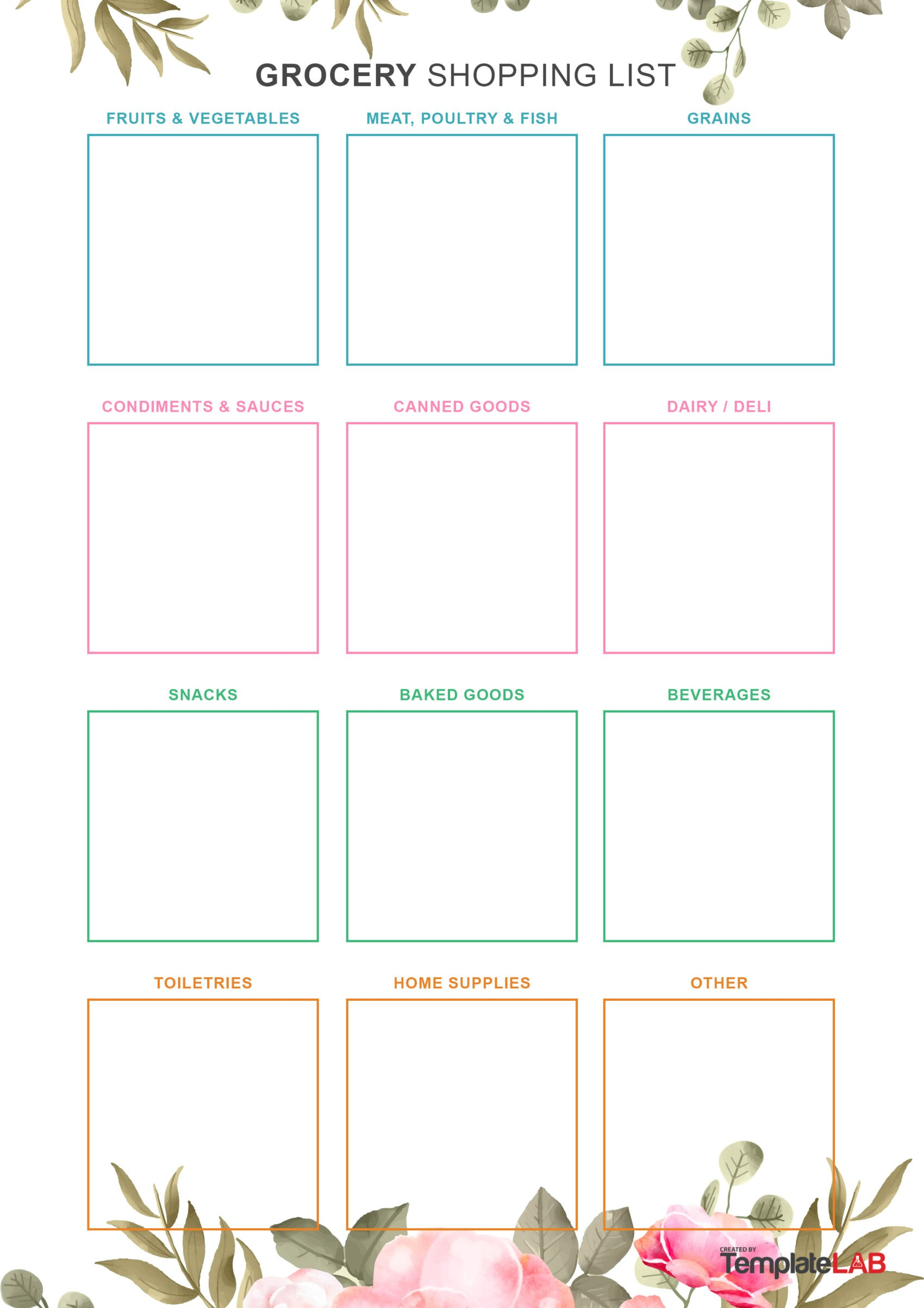 Free Grocery List Template 4
