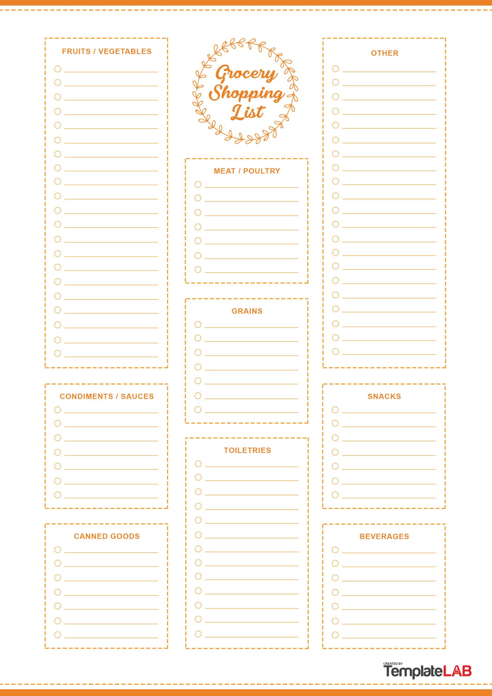 Free Grocery List Template 5