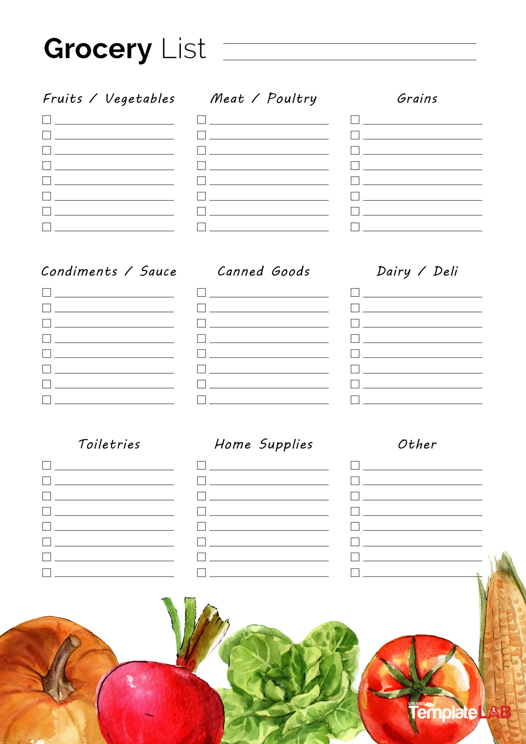 Free Grocery List Template 7