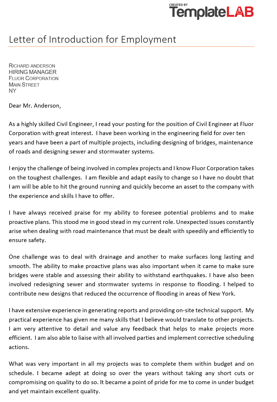 Free Letter of Introduction for Employment 2