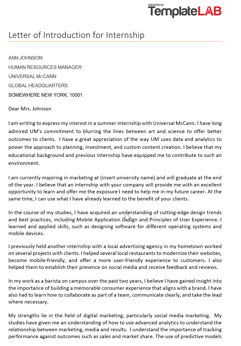 Letter-of-Introduction-for-Internship-1-TemplateLab.com_ Salesman Application Letters on for employment examples, formal job, for ojt, writing job, format example, free samples,