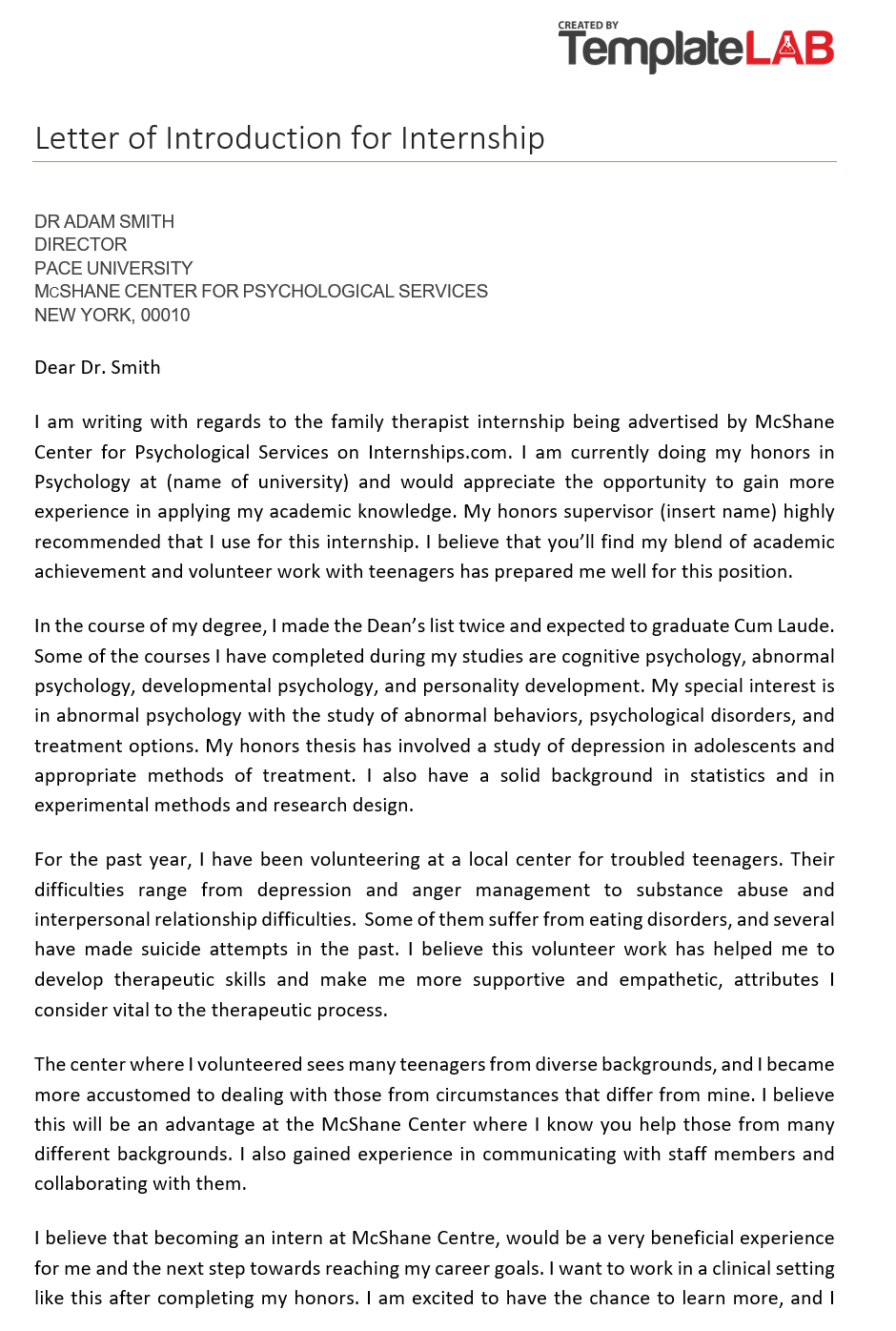 Free Letter of Introduction for Internship 2