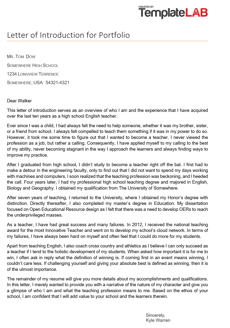 Free Letter of Introduction for Portfolio 2