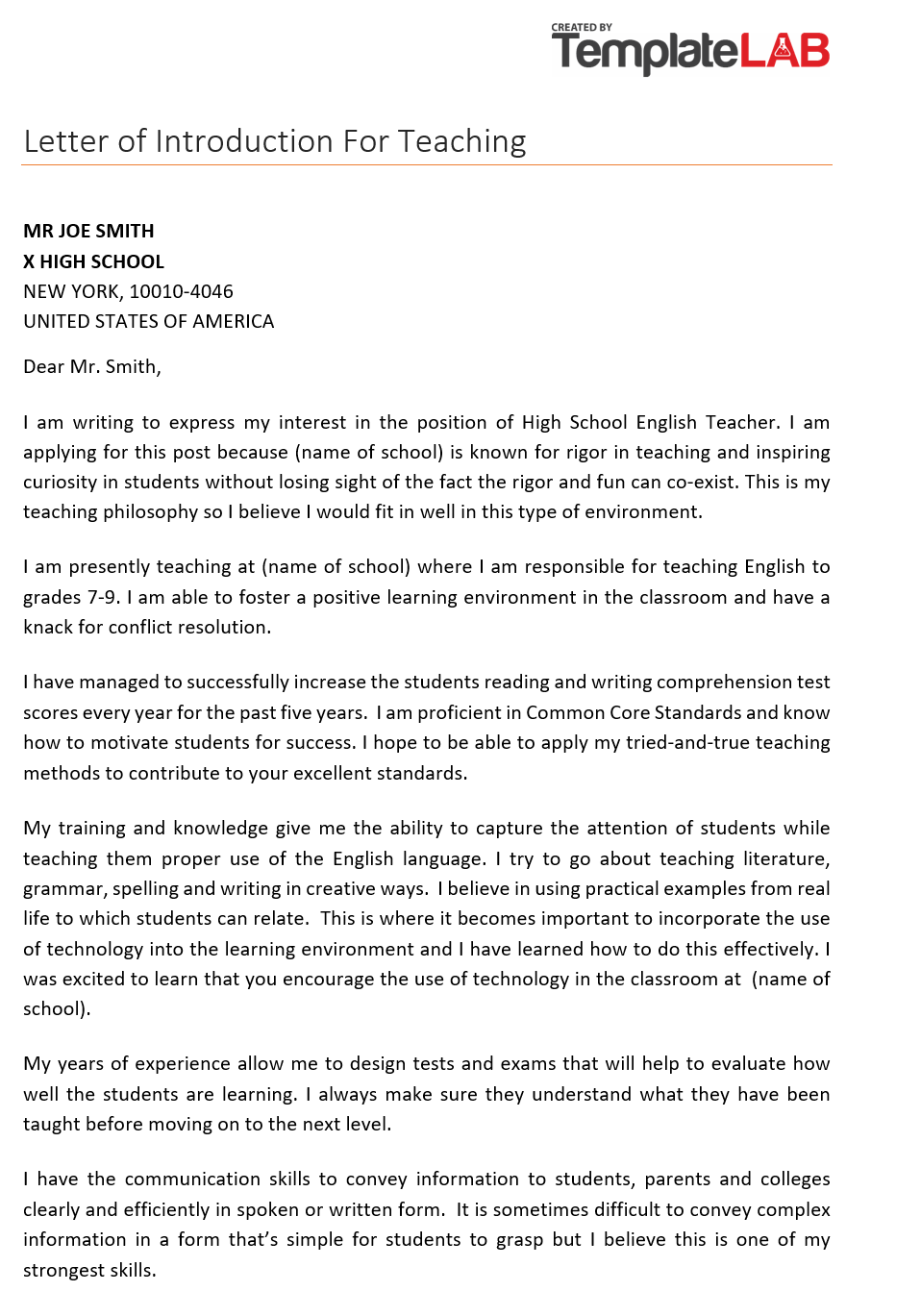 Example Of Letter Of Introduction For A Teacher from templatelab.com