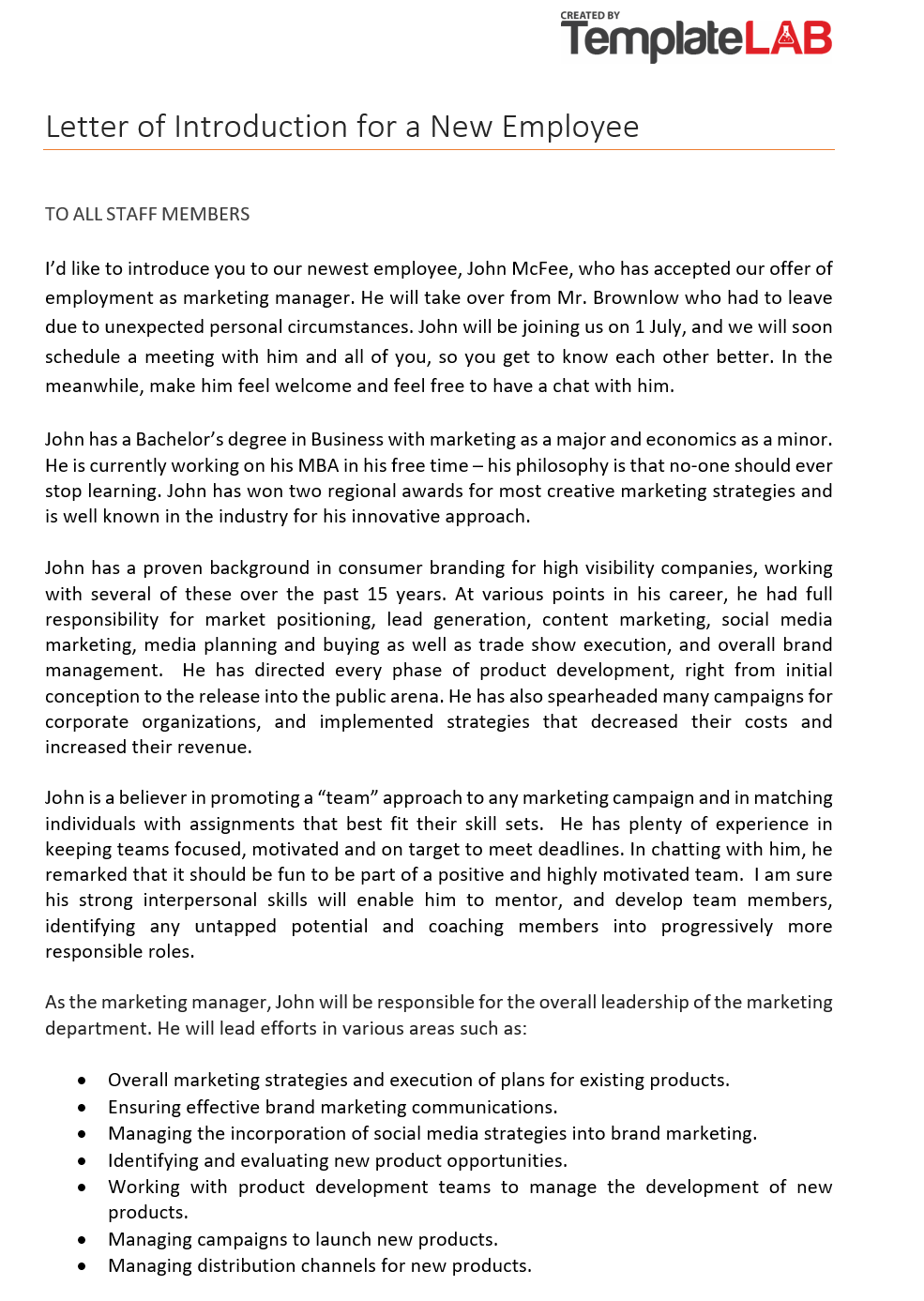 Free Letter of Introduction for a New Employee 2