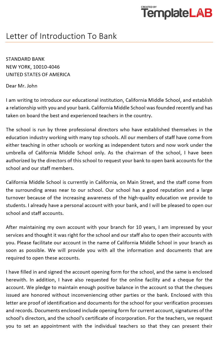 Free Letter of Introduction to Bank