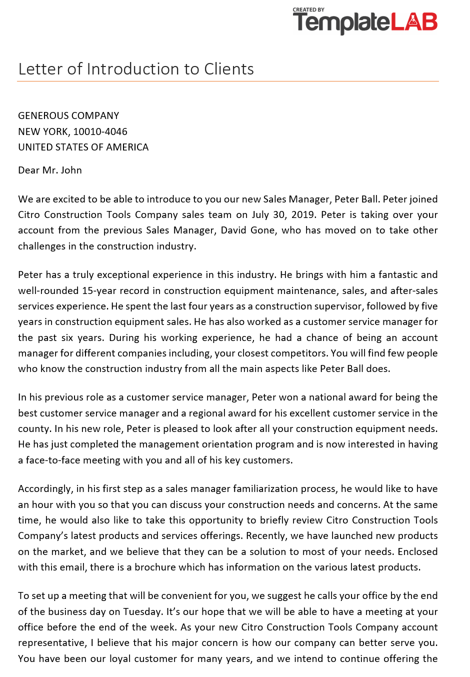 Free Letter of Introduction to Clients 1