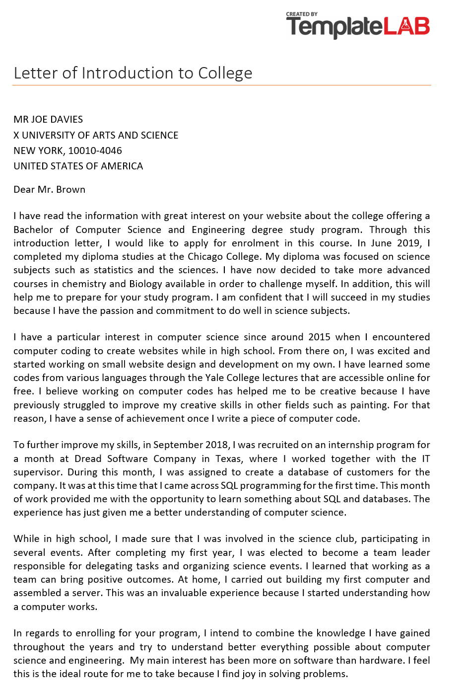 Free Letter of Introduction to College 2