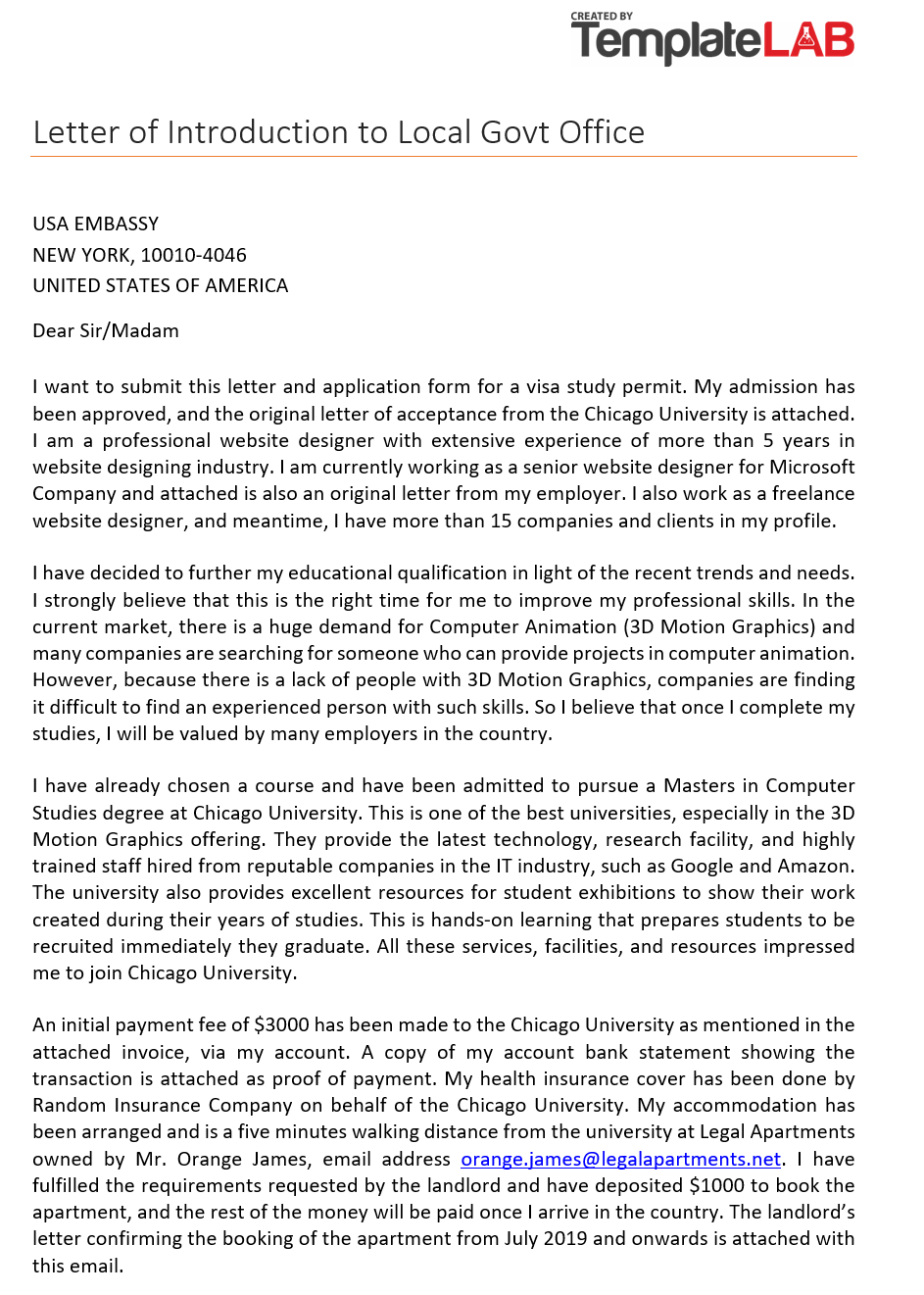 Free Letter of Introduction to Visa