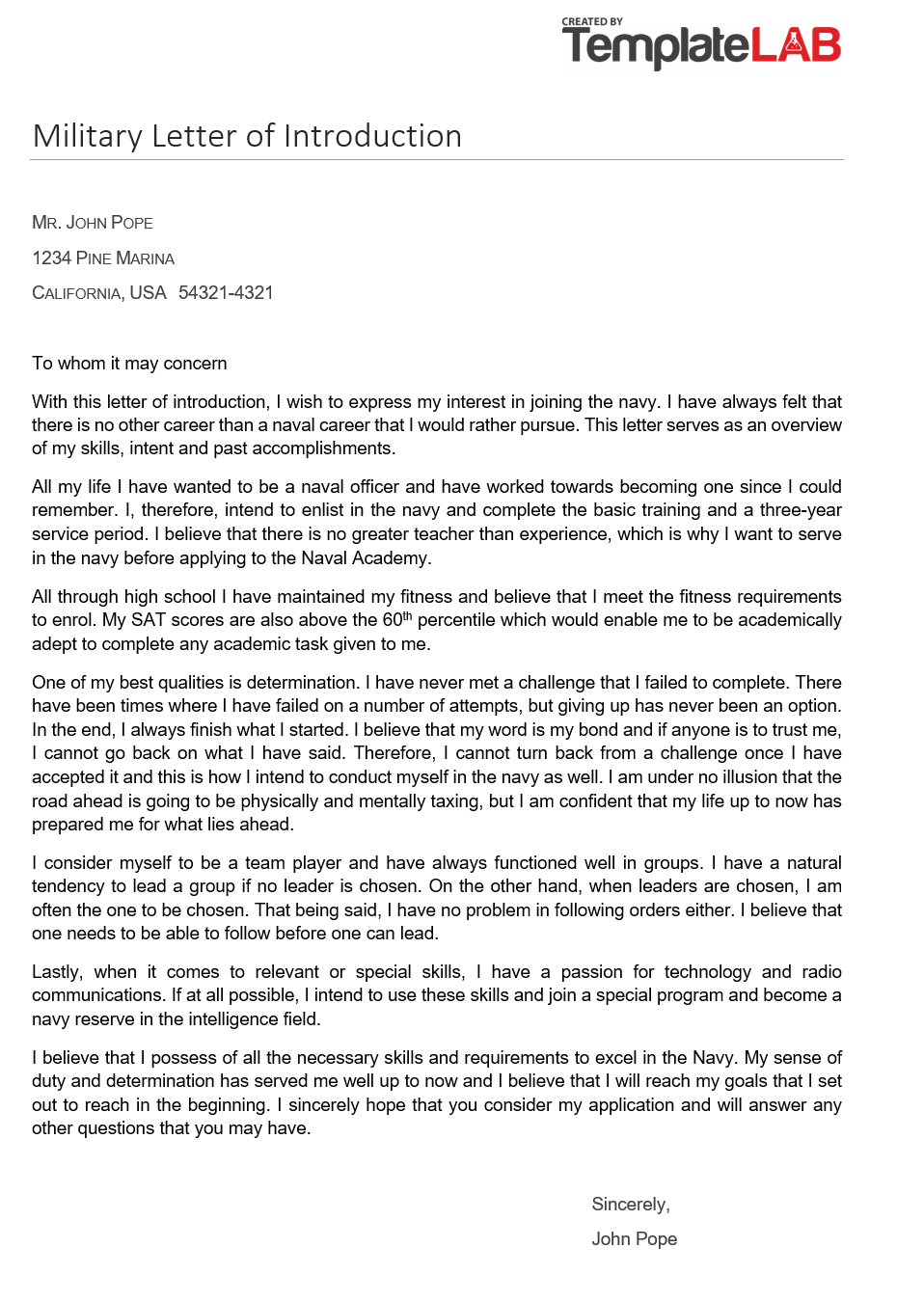 Free Military Letter of Introduction 1