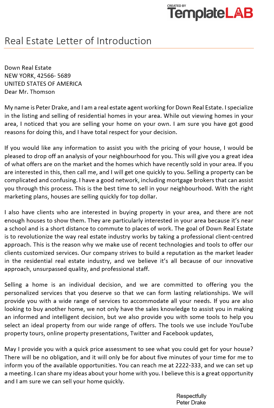 Free Real Estate Letter of Introduction 1