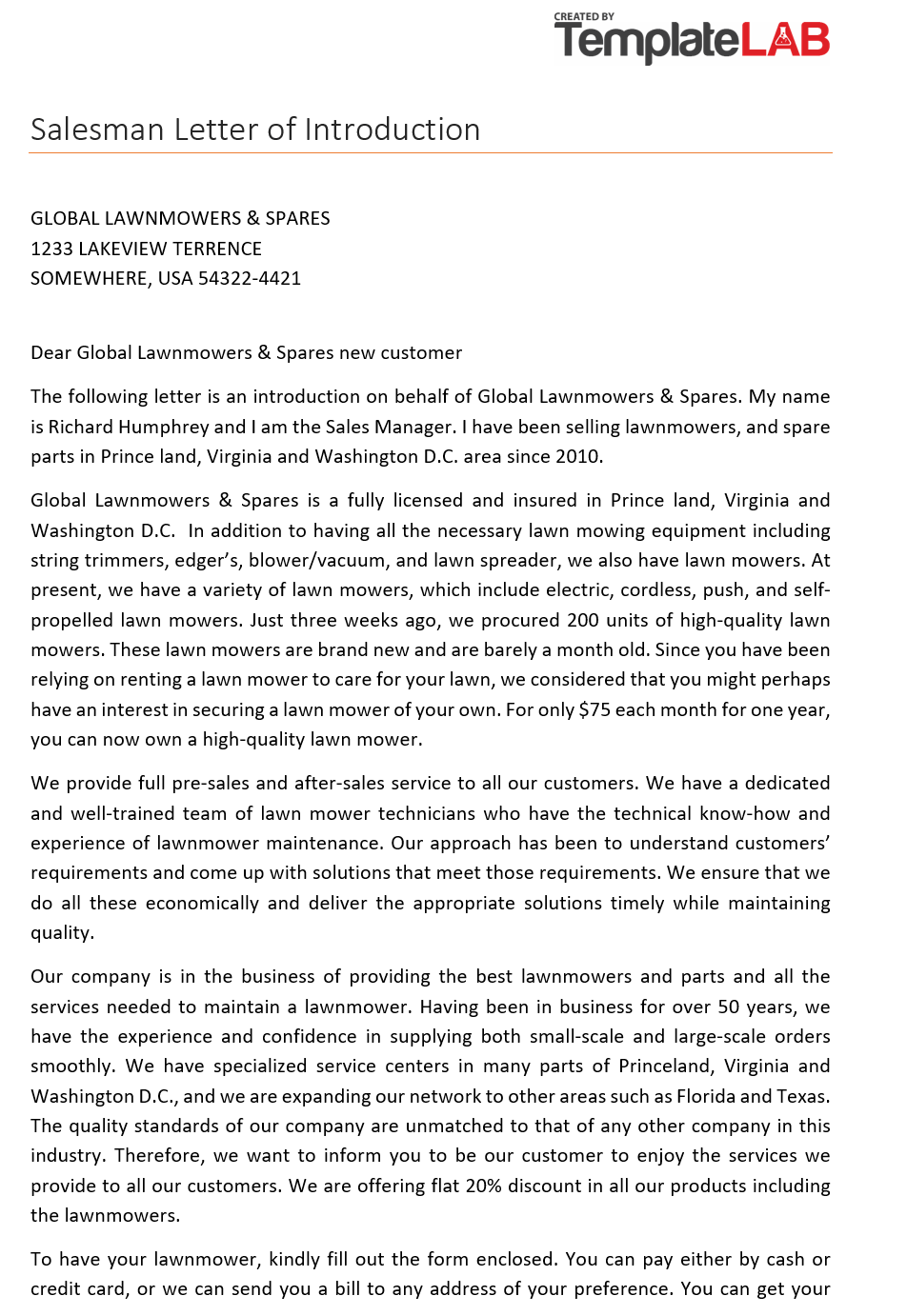 Free Salesman Letter of Introduction 2