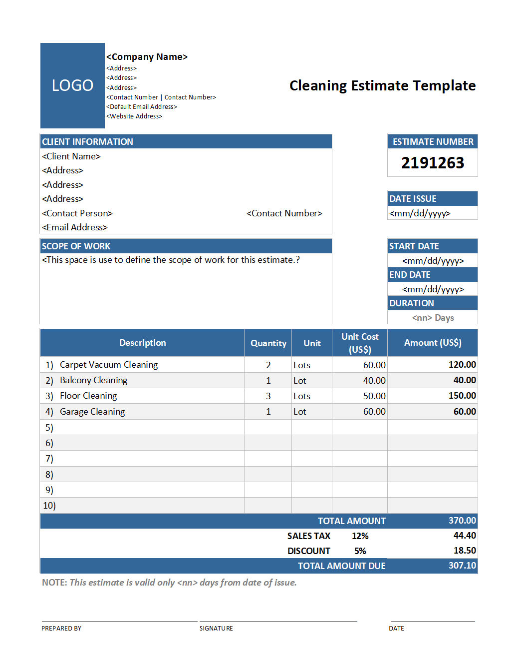 Free Cleaning Estimate Template v2