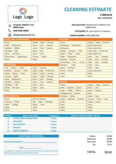 Free Cleaning Estimate Template v1