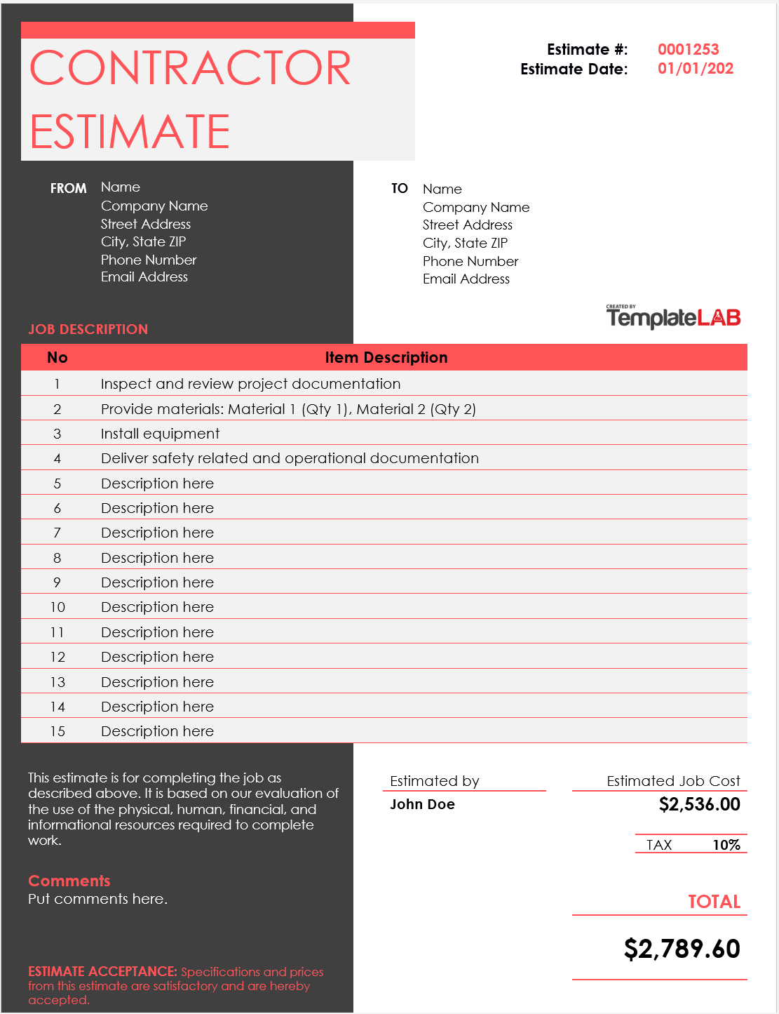 Free Contractor Estimate Template