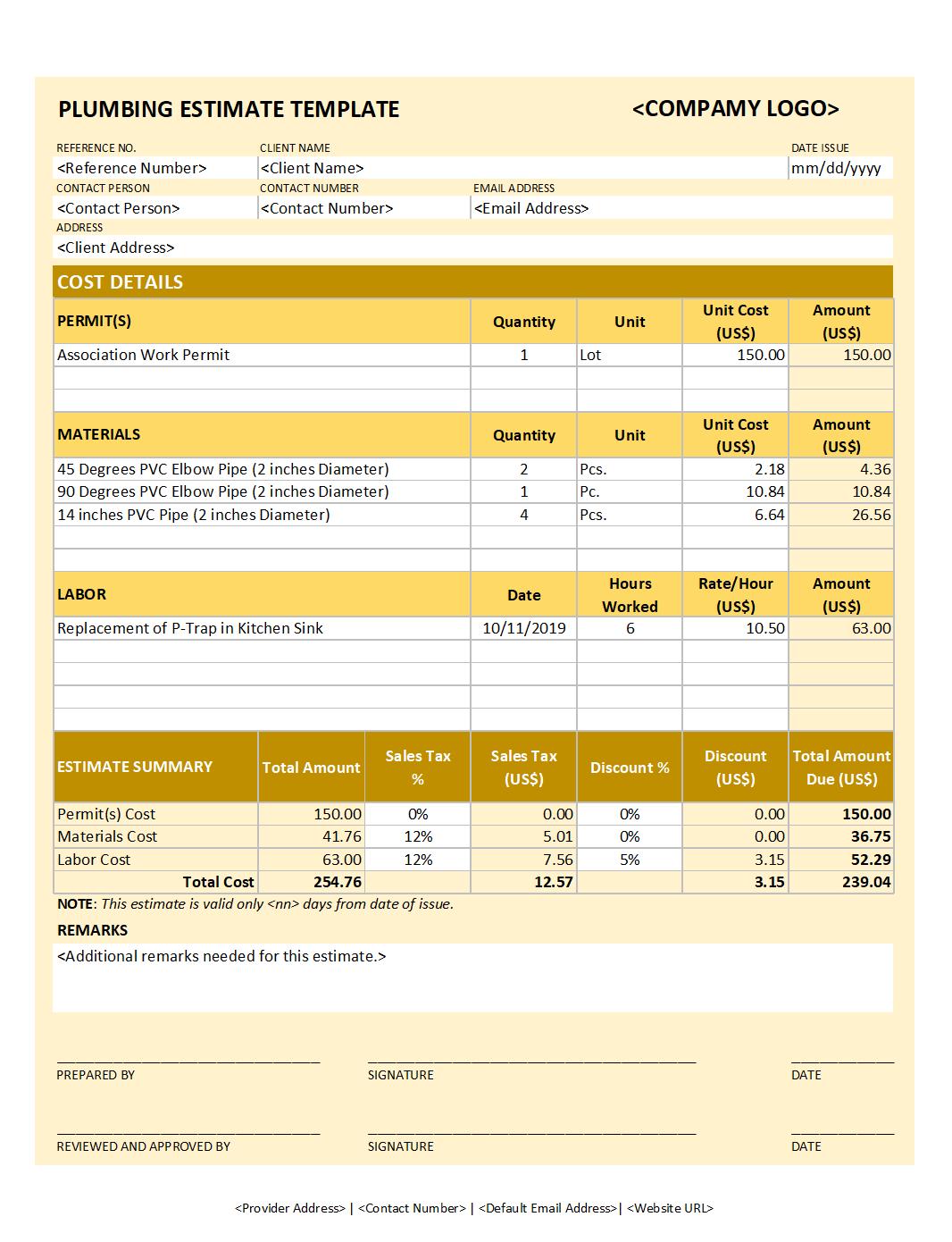 Free Plumbing Estimate Template v2