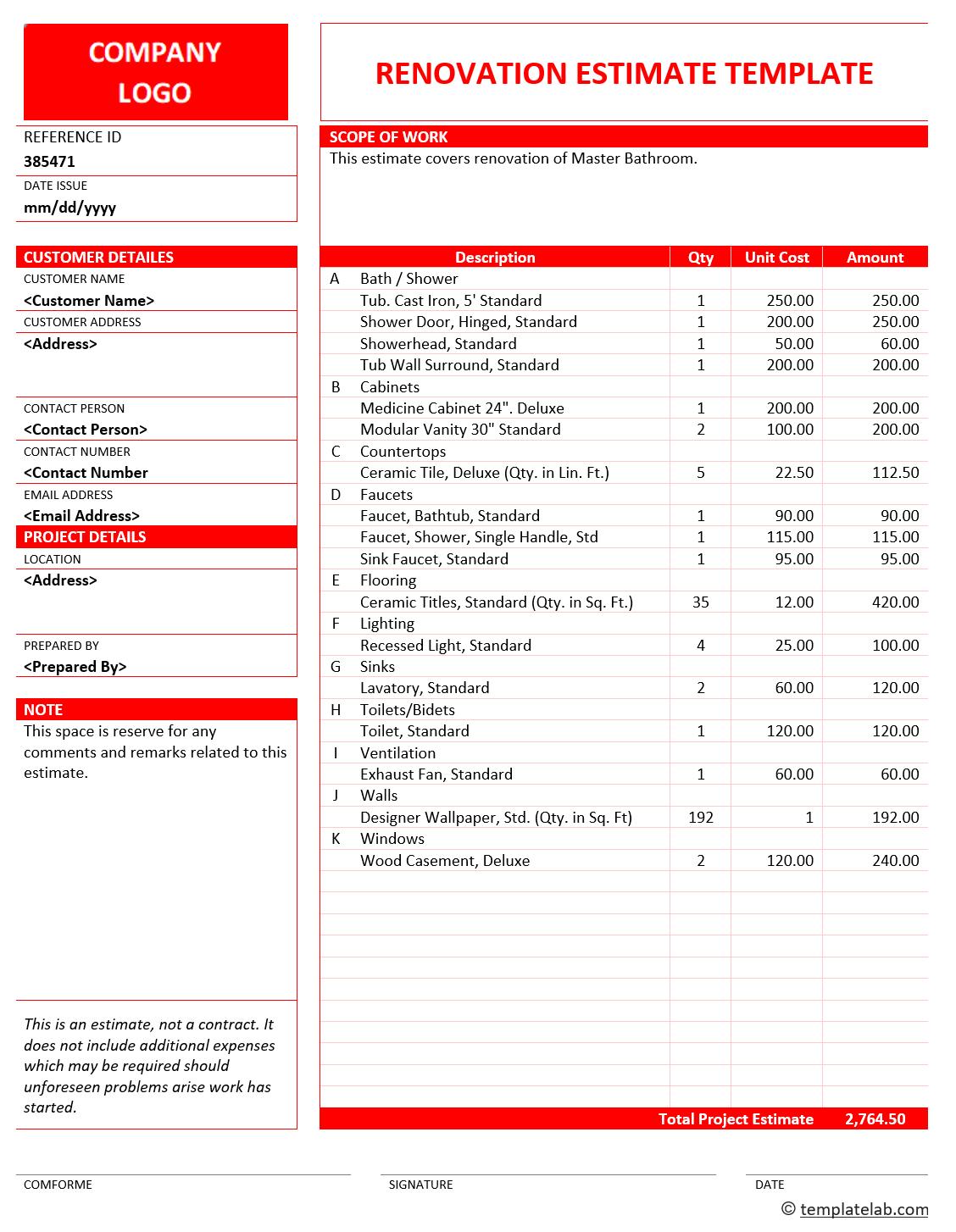 28 free estimate template forms construction repair