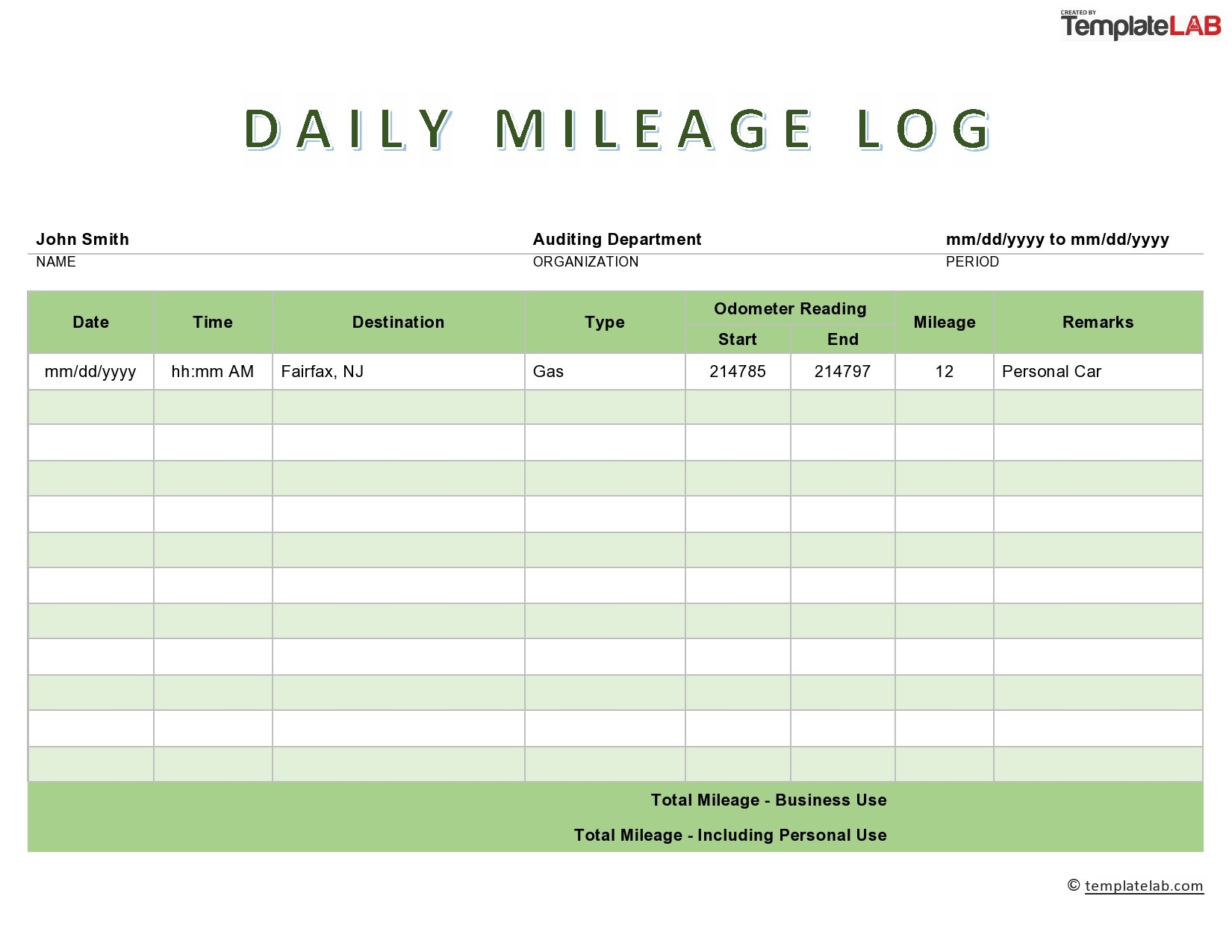 Free Daily Mileage Log