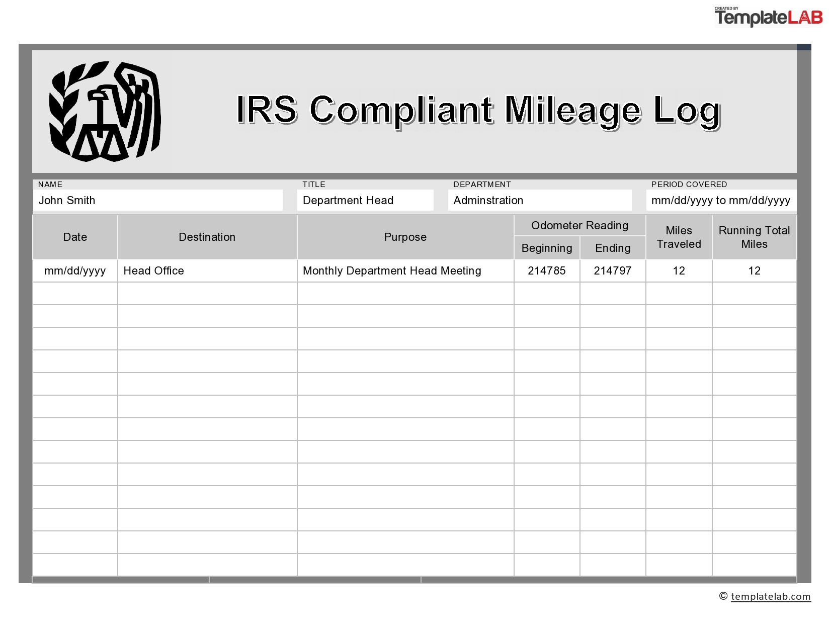 31 Printable Mileage Log Templates Free Á… Templatelab