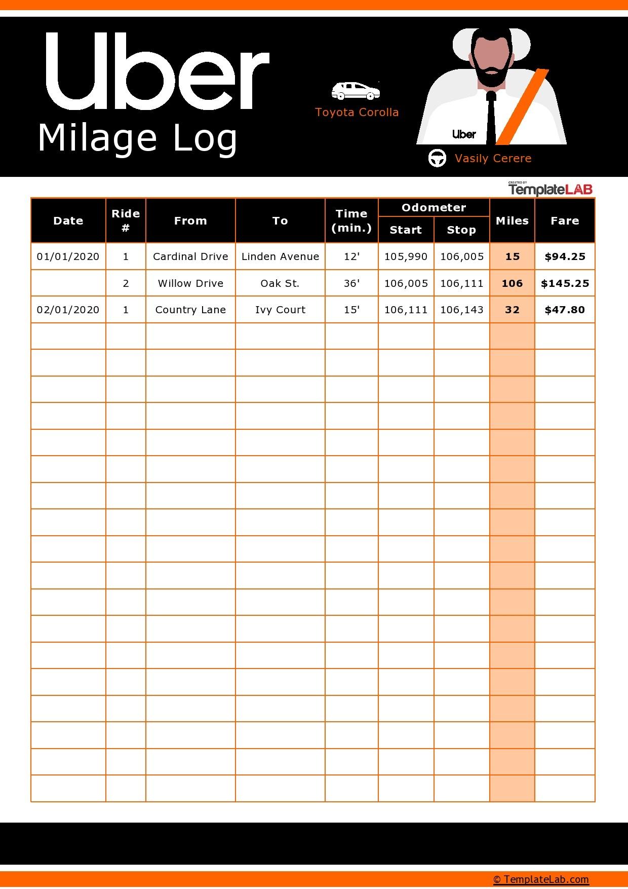 Free Uber Mileage Log 01
