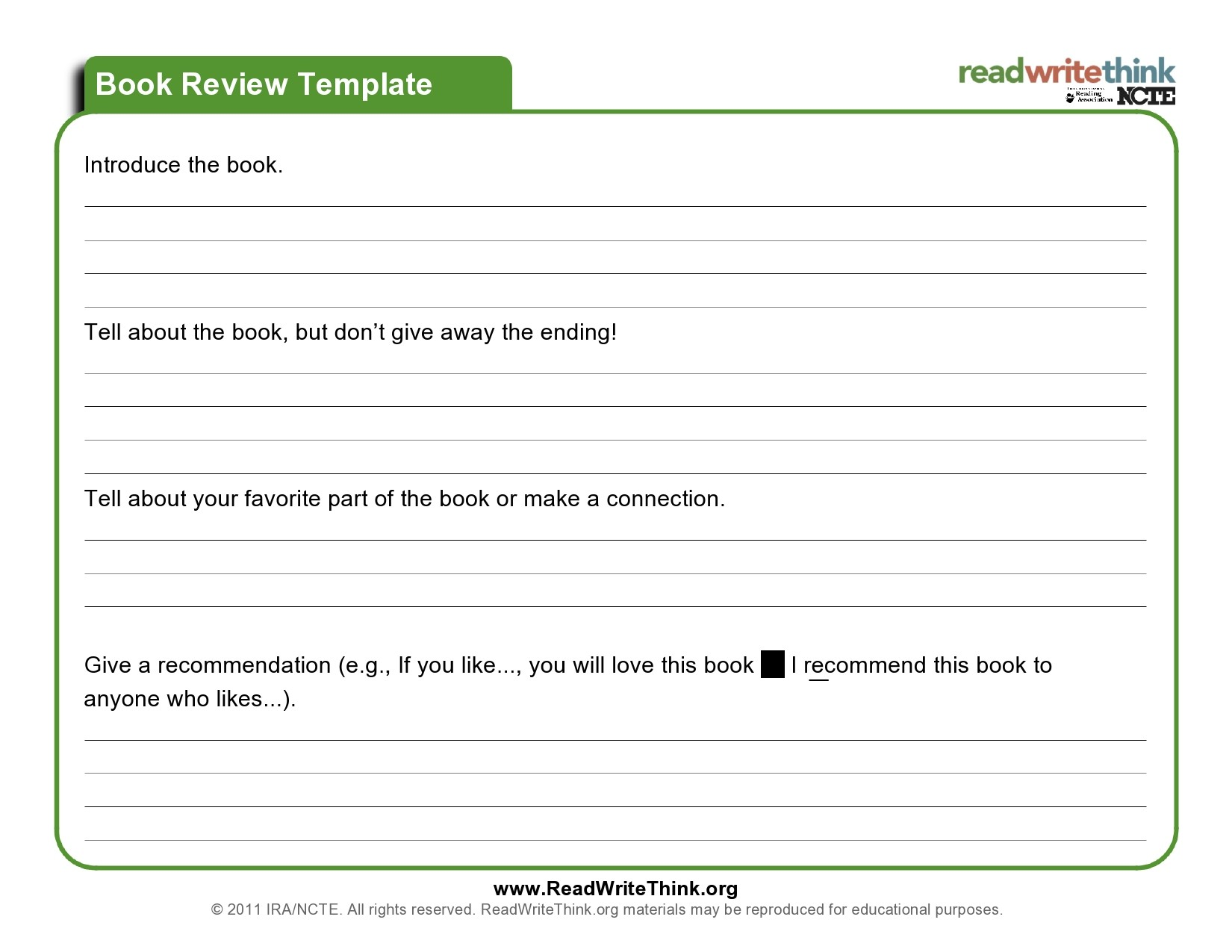 Free book review template 01