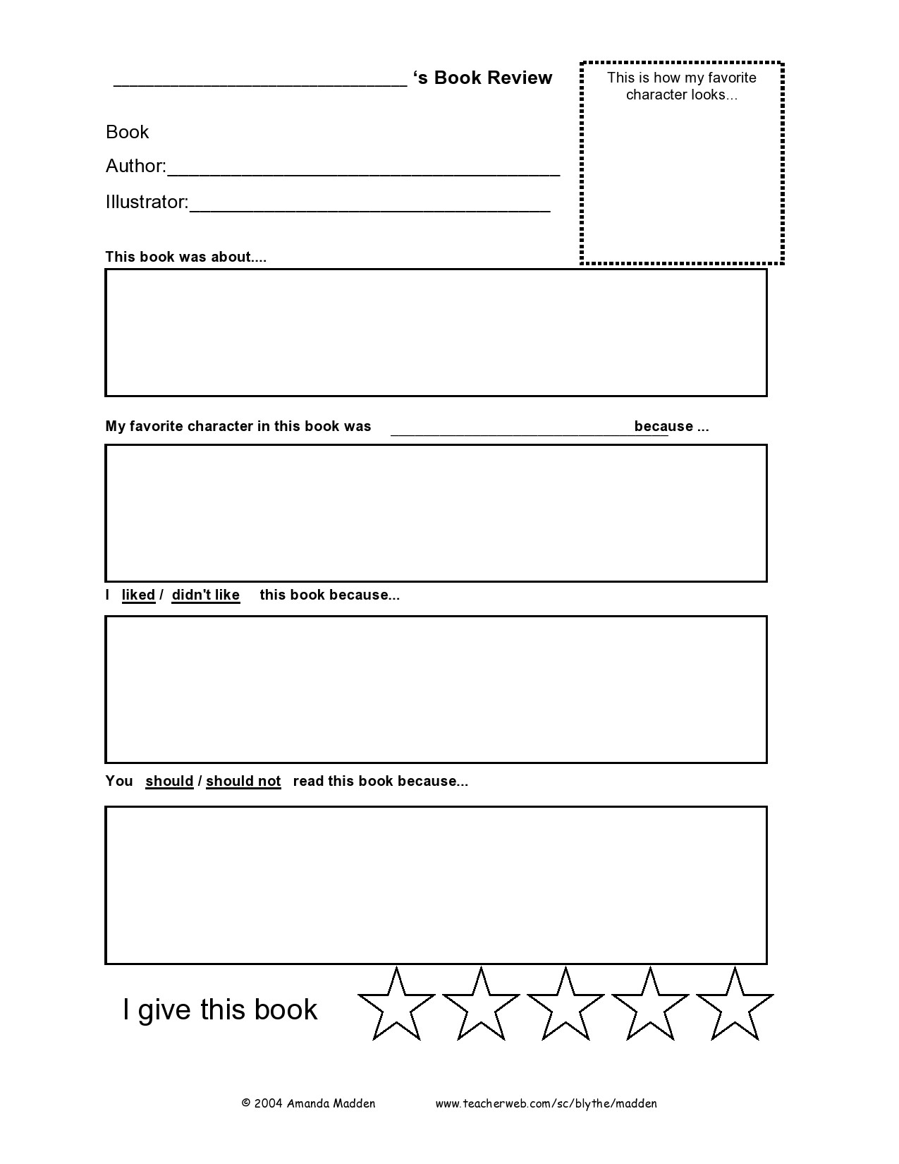 Free book review template 20