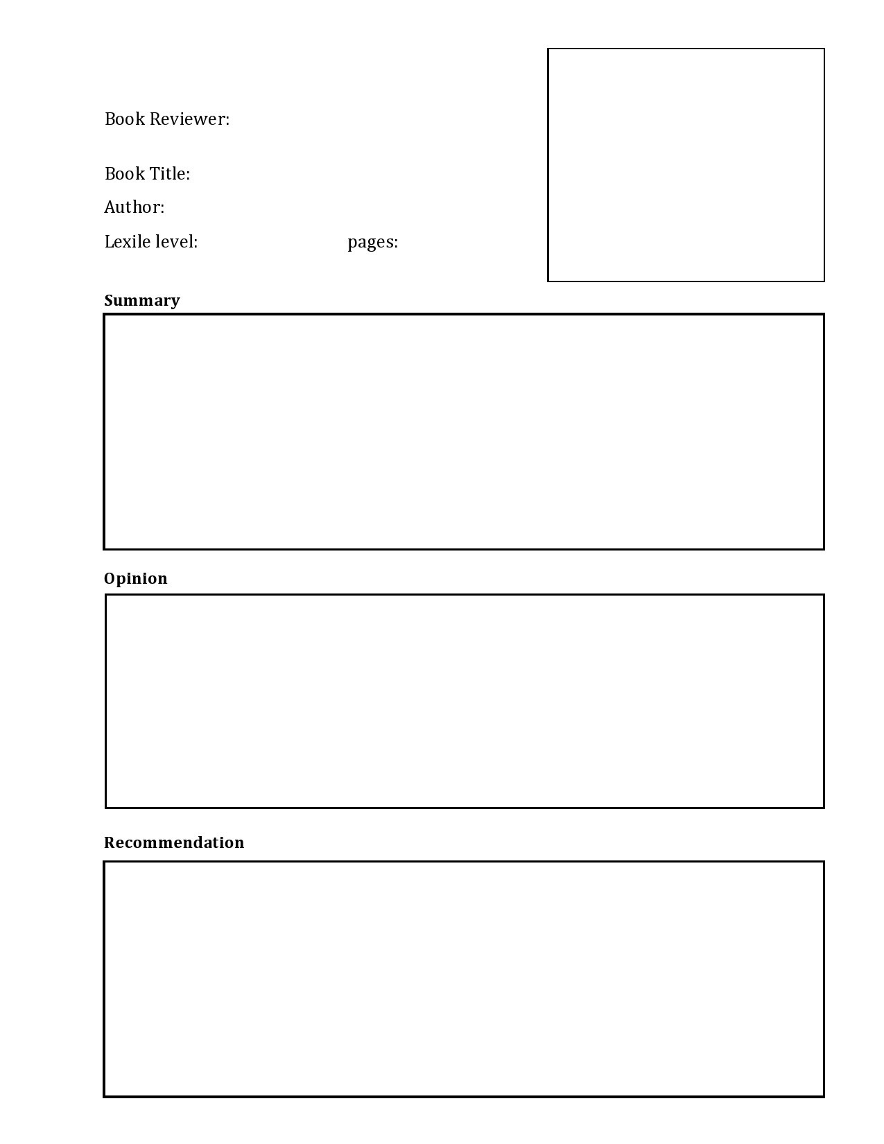 Free book review template 22