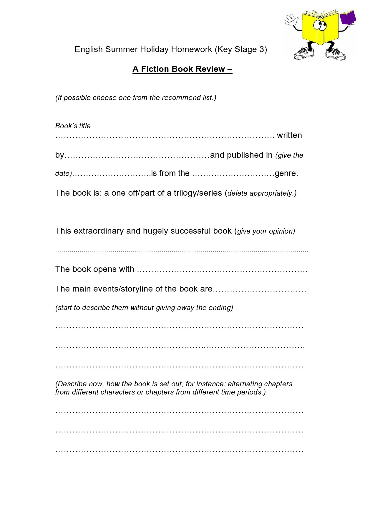 Free book review template 29