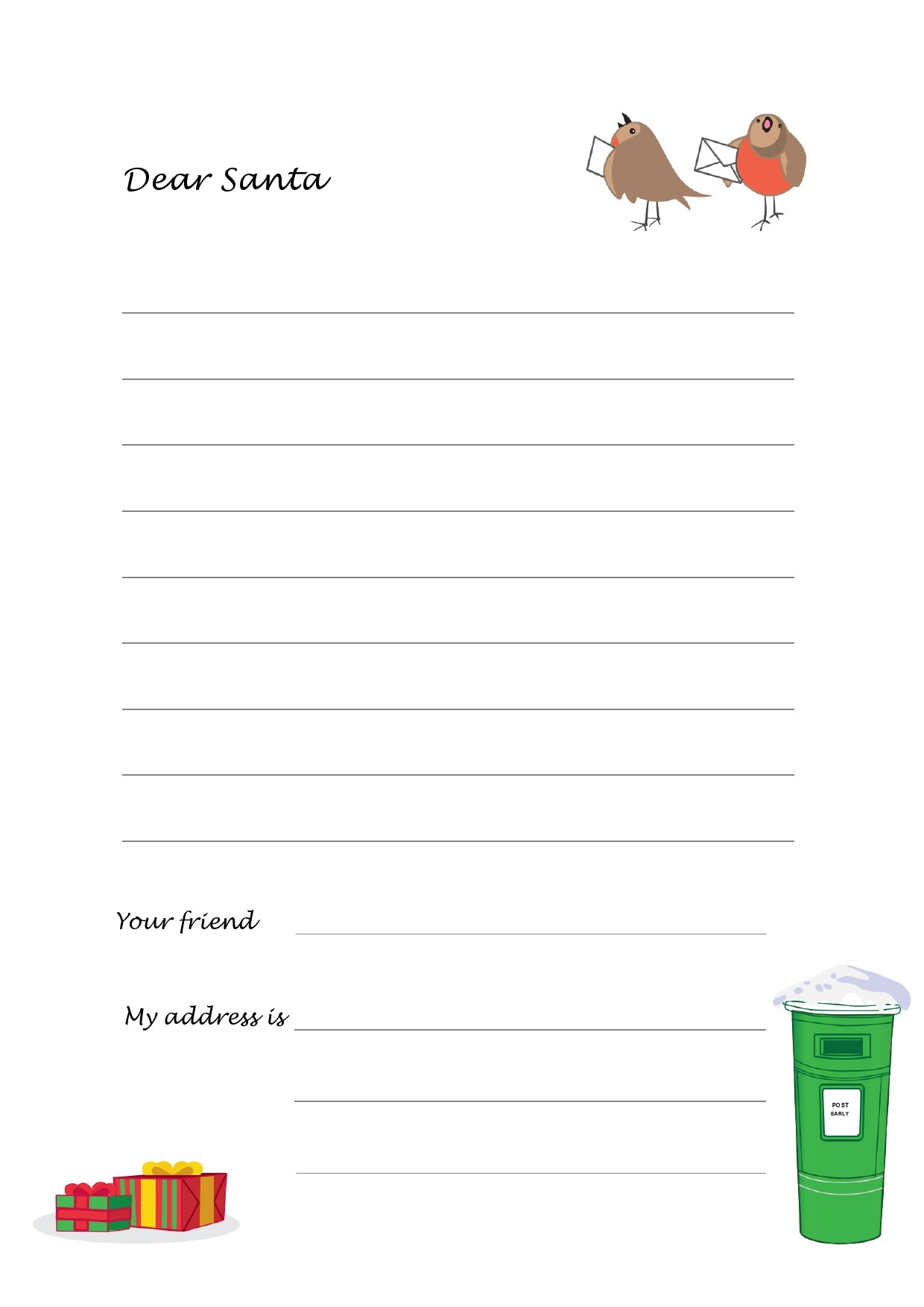 Free christmas letter template 01