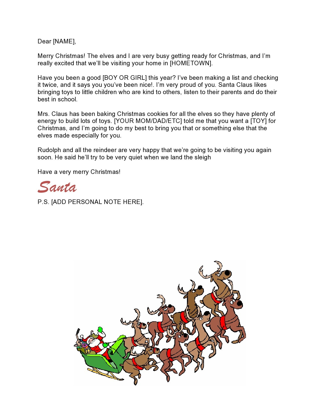 Free christmas letter template 09