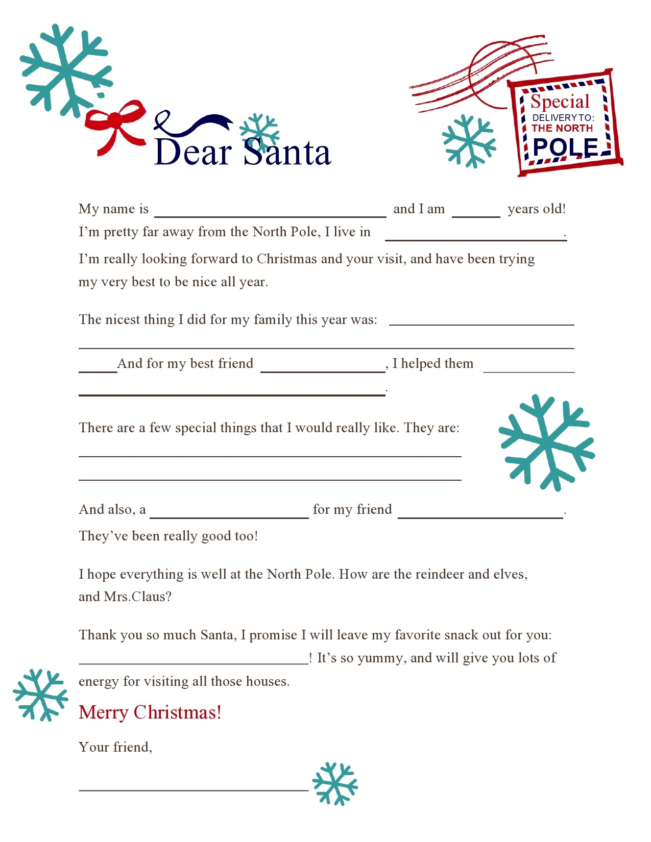 Free christmas letter template 24